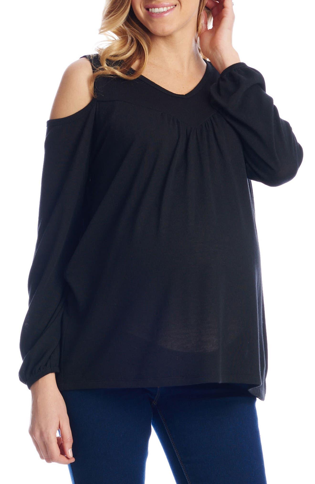 Nora Cold Shoulder Maternity/Nursing Top,                             Alternate thumbnail 3, color,                             BLACK