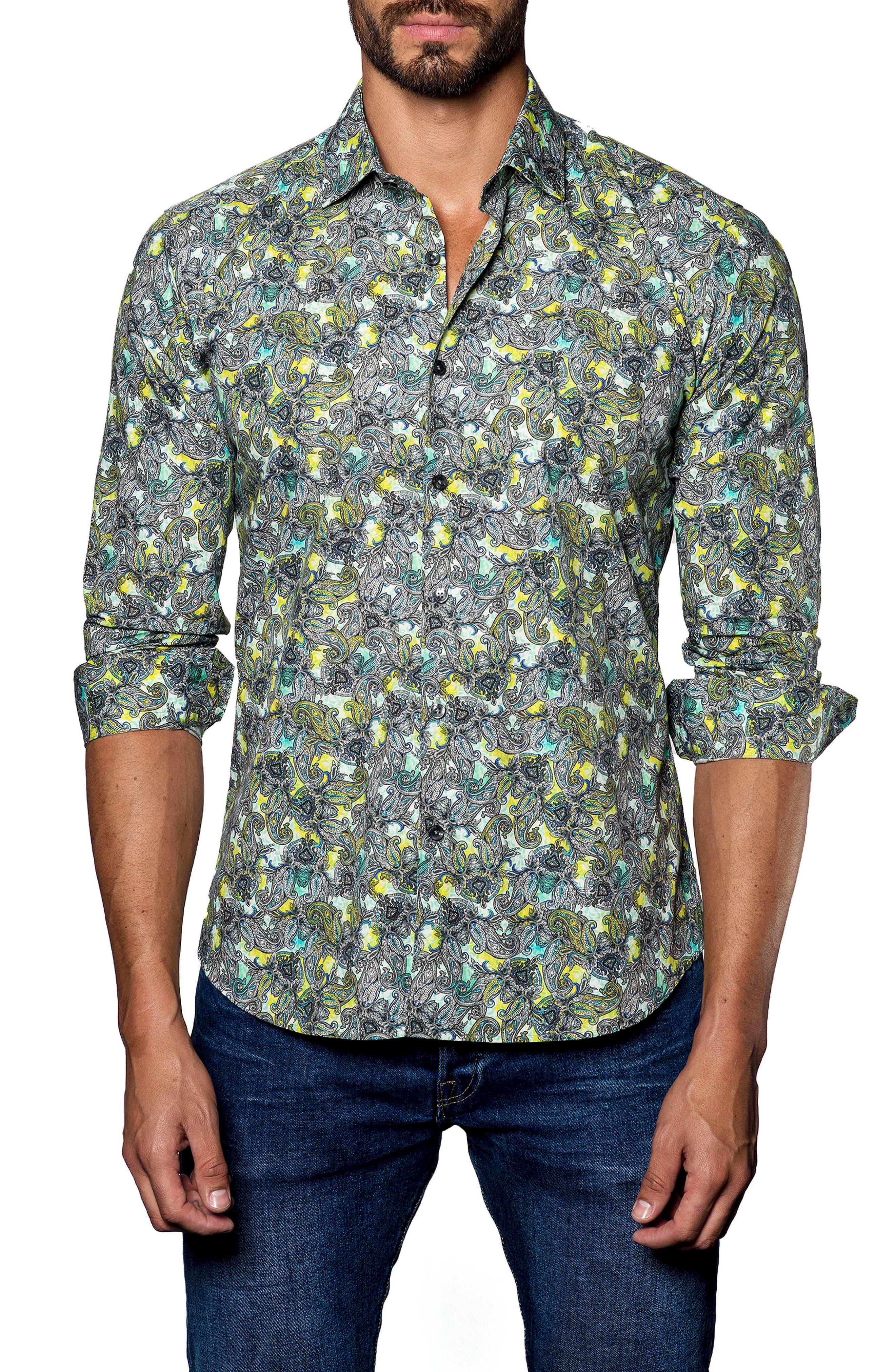Trim Fit Print Sport Shirt,                             Main thumbnail 1, color,                             300