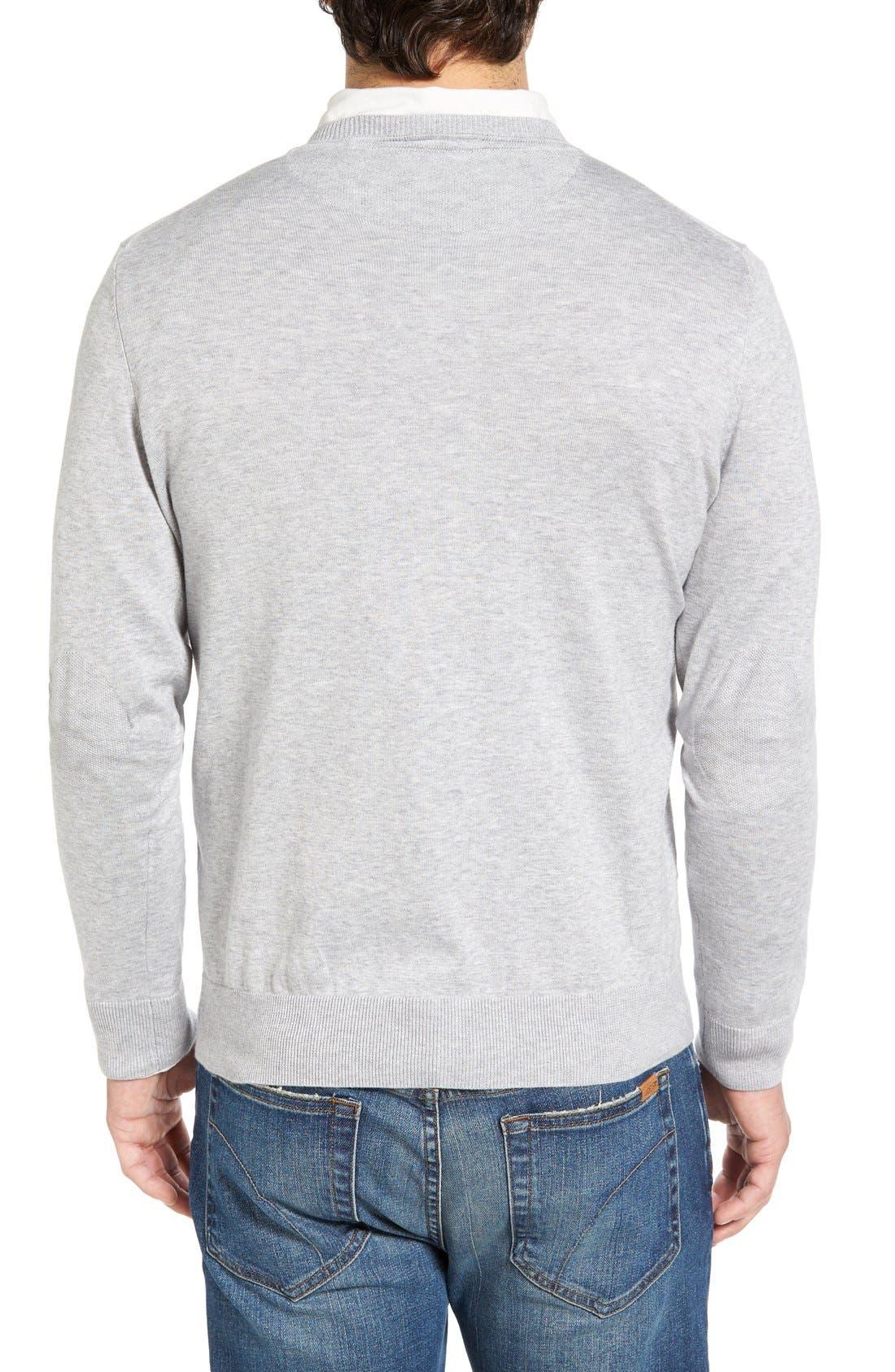 Cotton Jersey V-Neck Sweater,                             Alternate thumbnail 16, color,