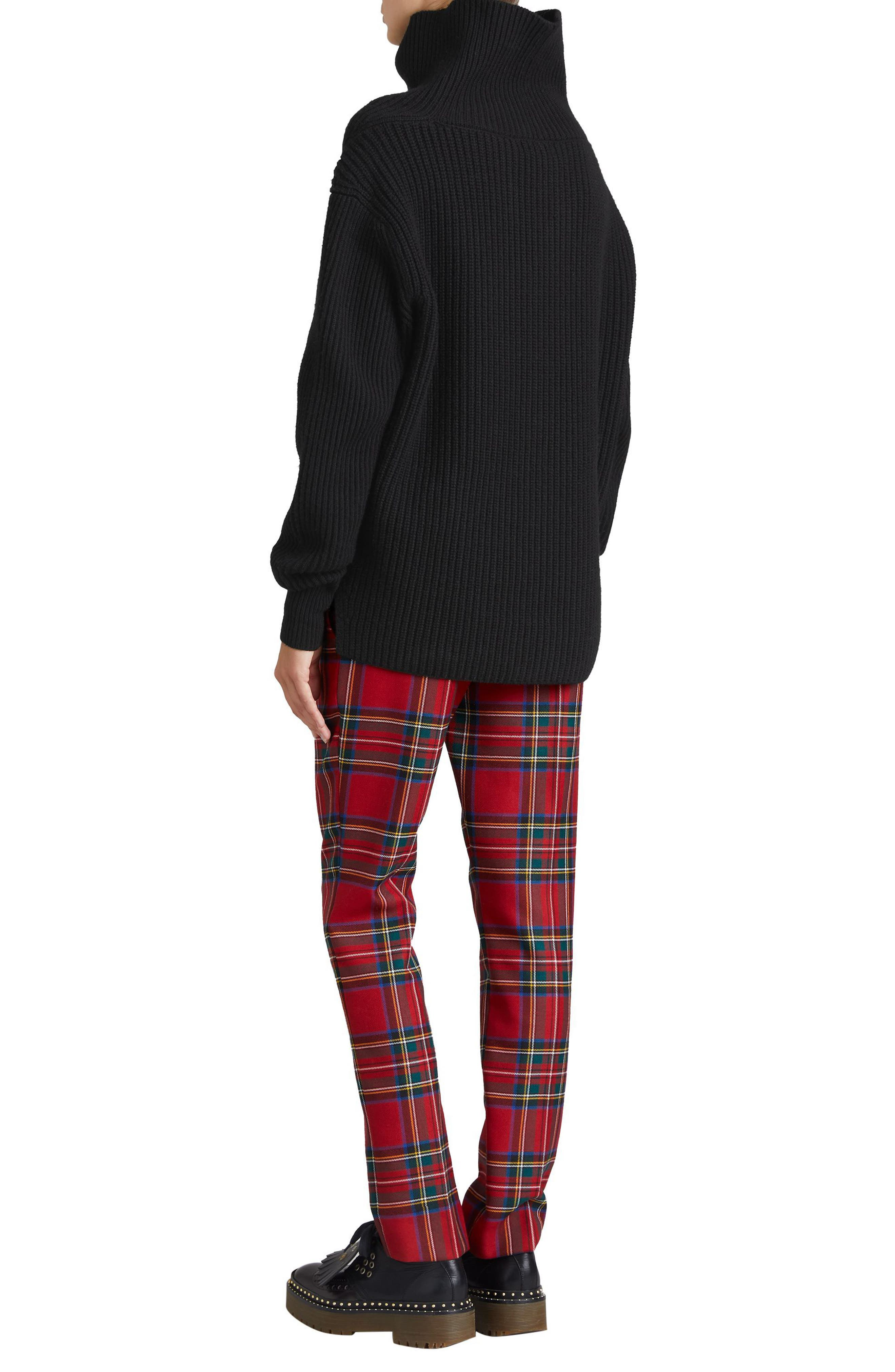 Fiora Check Wool & Cashmere Turtleneck Sweater,                             Alternate thumbnail 7, color,                             001