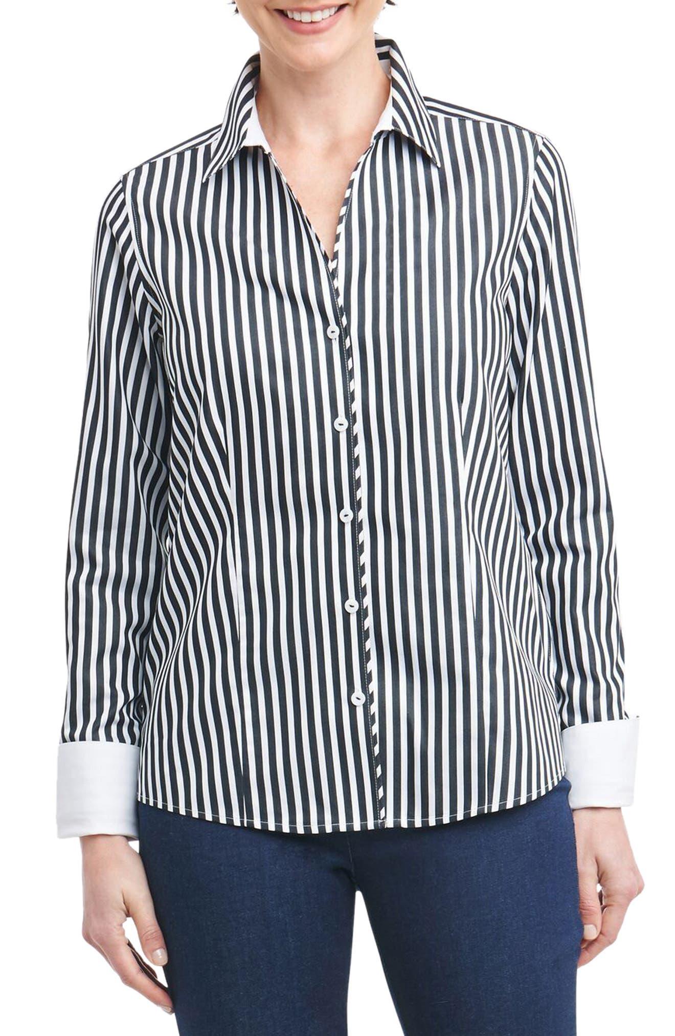 Lauren Sateen Stripe Shirt,                             Main thumbnail 1, color,
