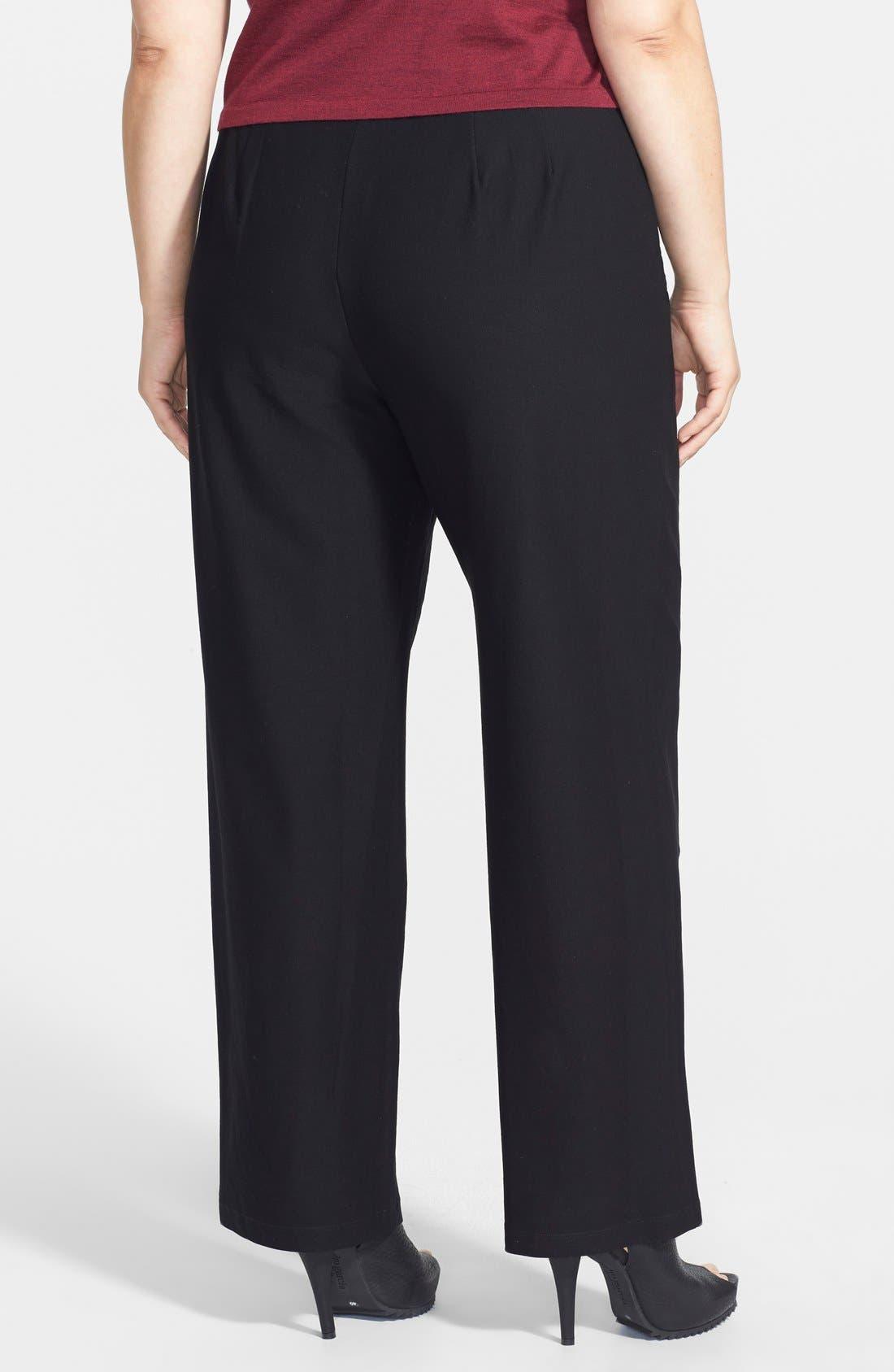 Straight Leg Crepe Pants,                             Alternate thumbnail 2, color,                             BLACK