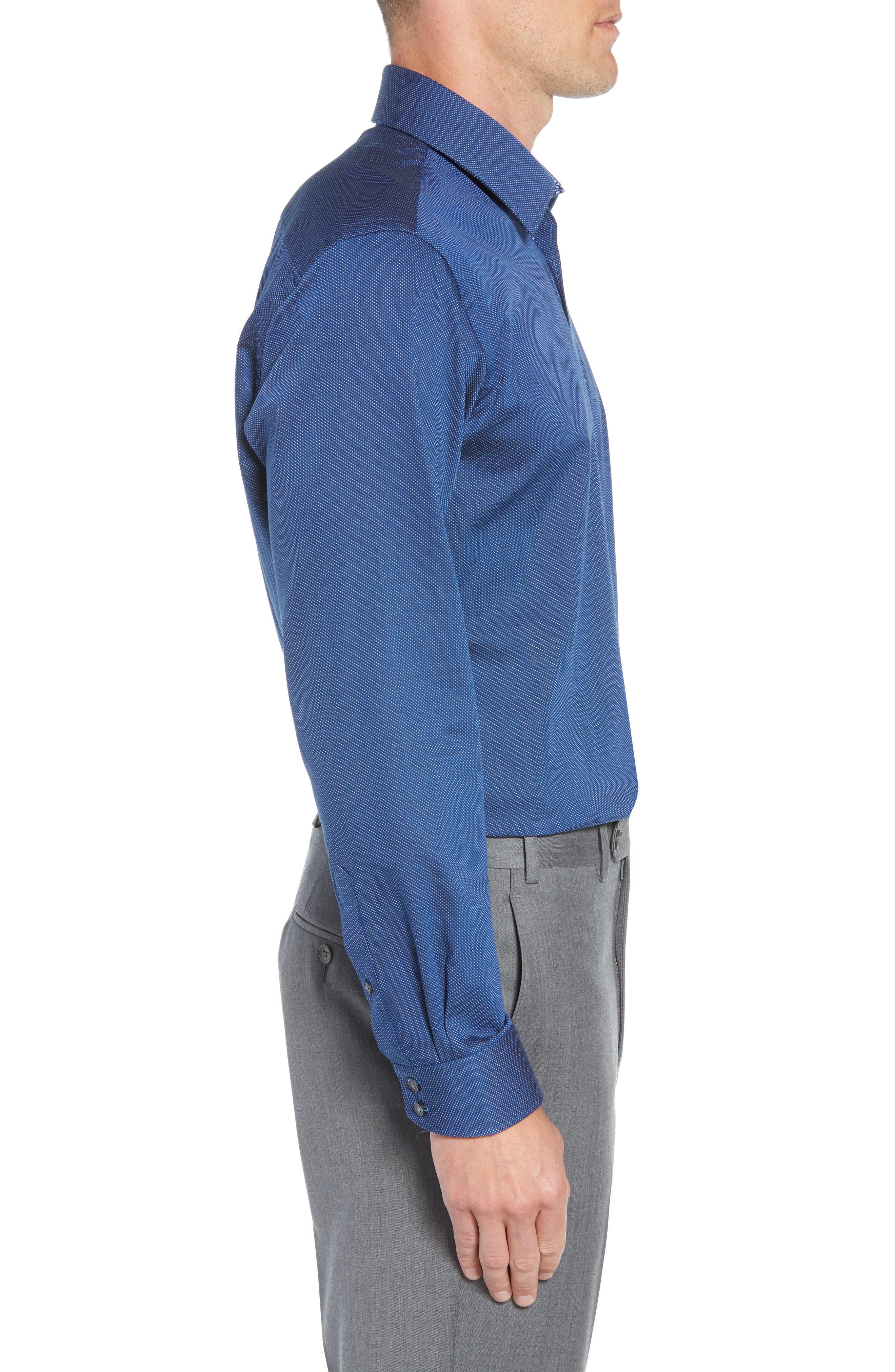 TED BAKER LONDON,                             Wikks Slim Fit Print Dress Shirt,                             Alternate thumbnail 4, color,                             410