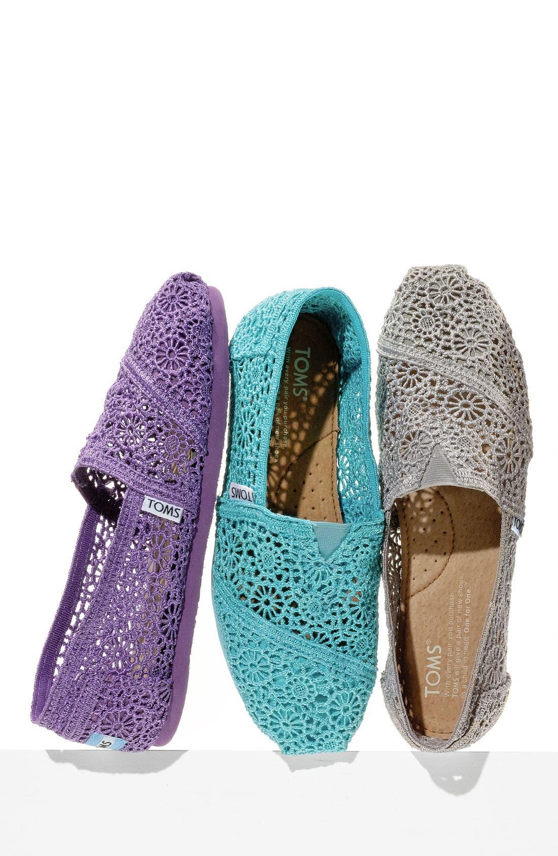 TOMS 'Classic' Crochet Slip-On, Main, color, 001