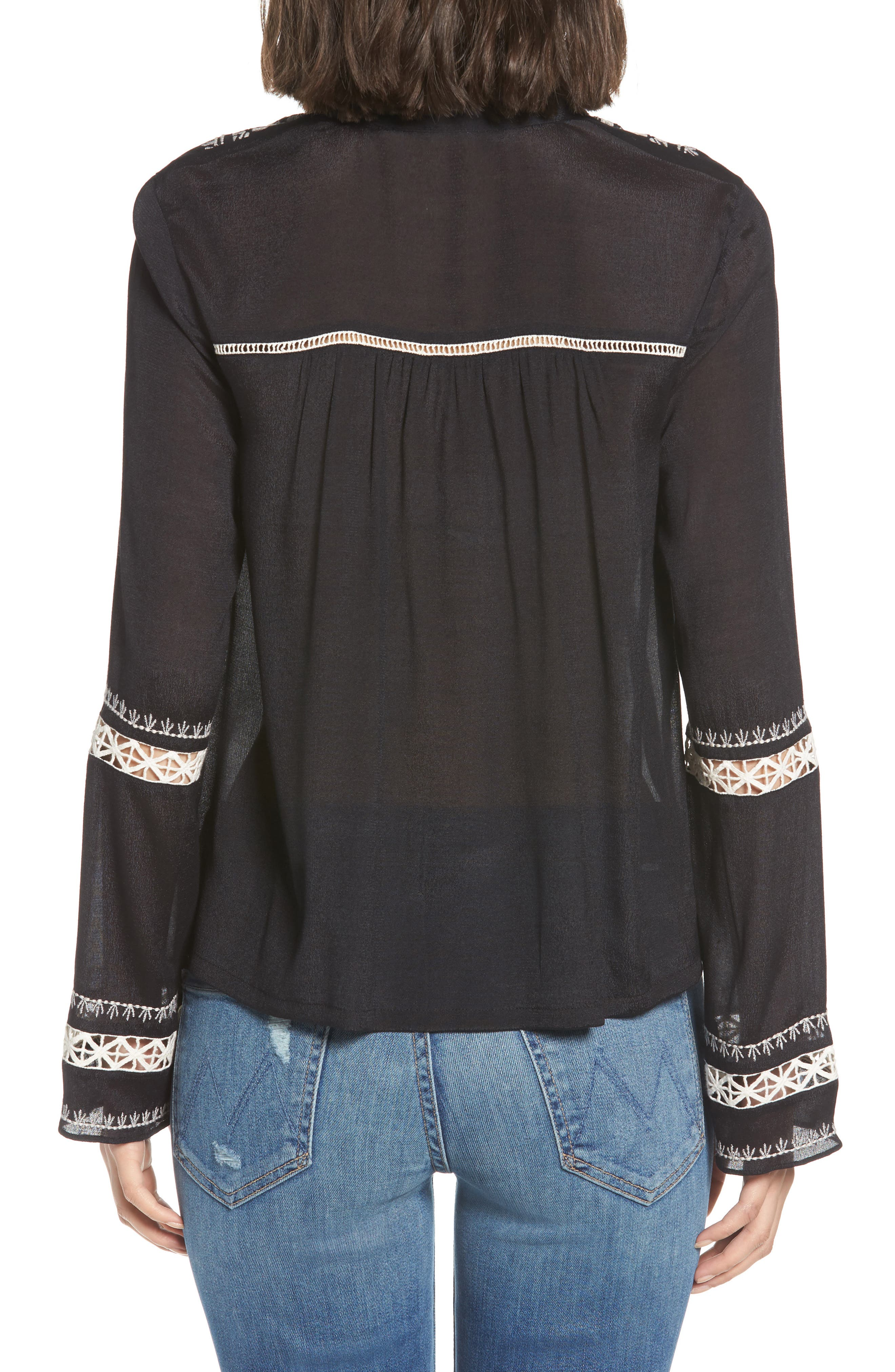 Lace Inset Embroidered Top,                             Alternate thumbnail 2, color,                             001