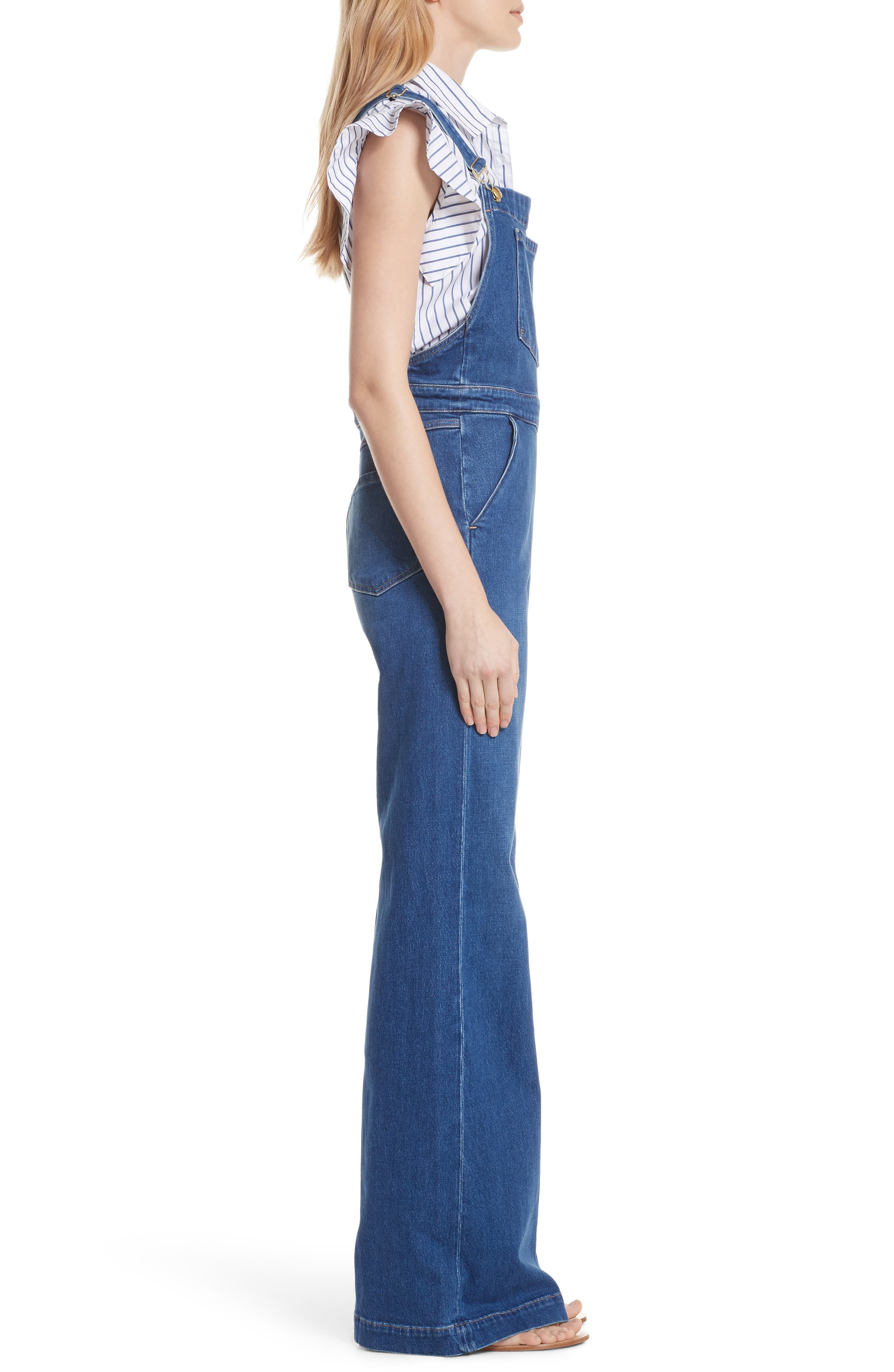 FRAME,                             Palazzo Wide Leg Denim Overalls,                             Alternate thumbnail 3, color,                             420