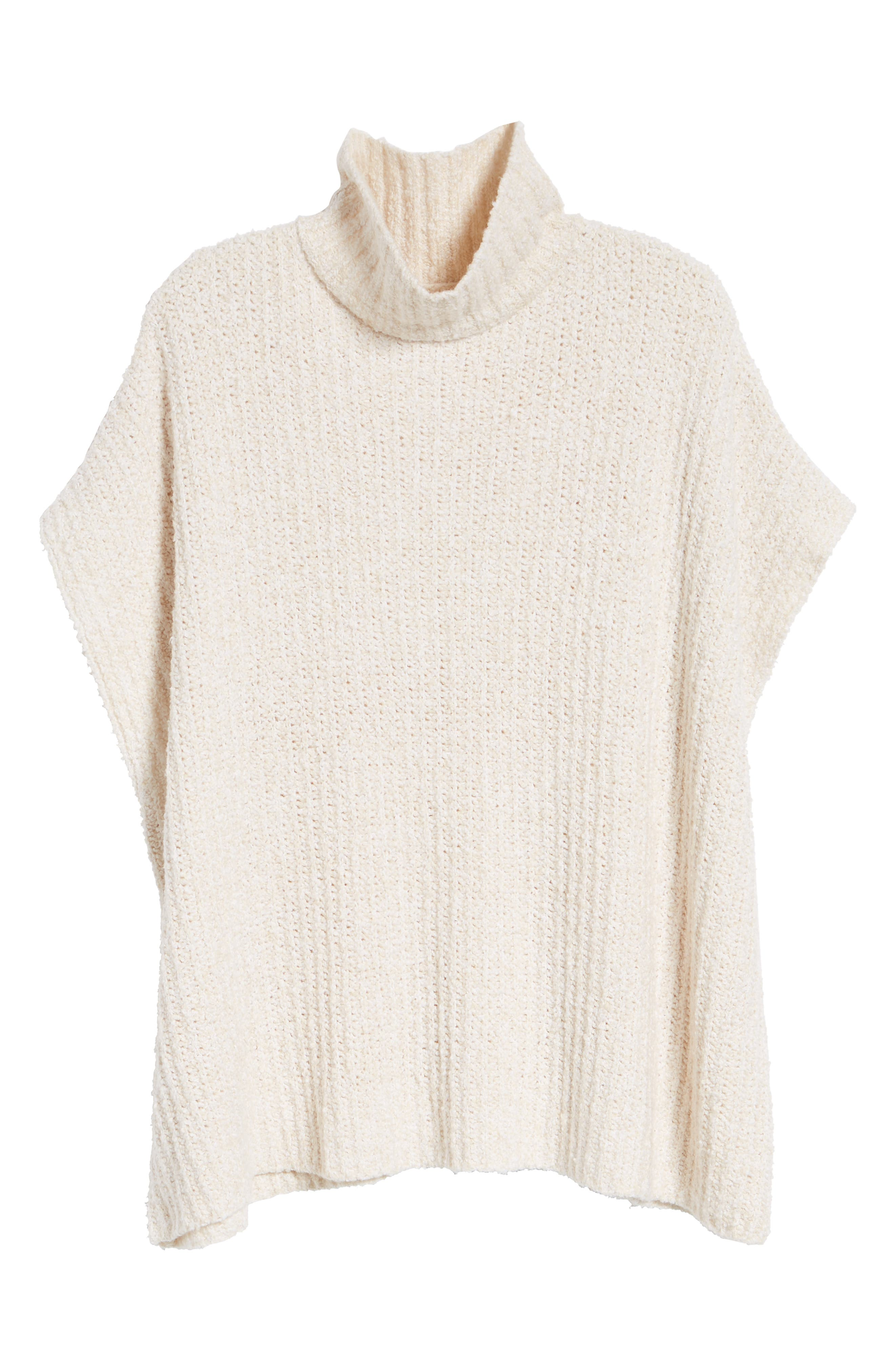 Ribbed Poncho Sweater,                             Alternate thumbnail 7, color,                             IVORY