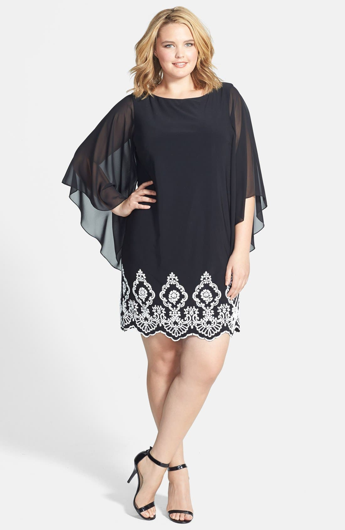 Plus Size Xscape Beaded Hem Short Shift Dress, Black