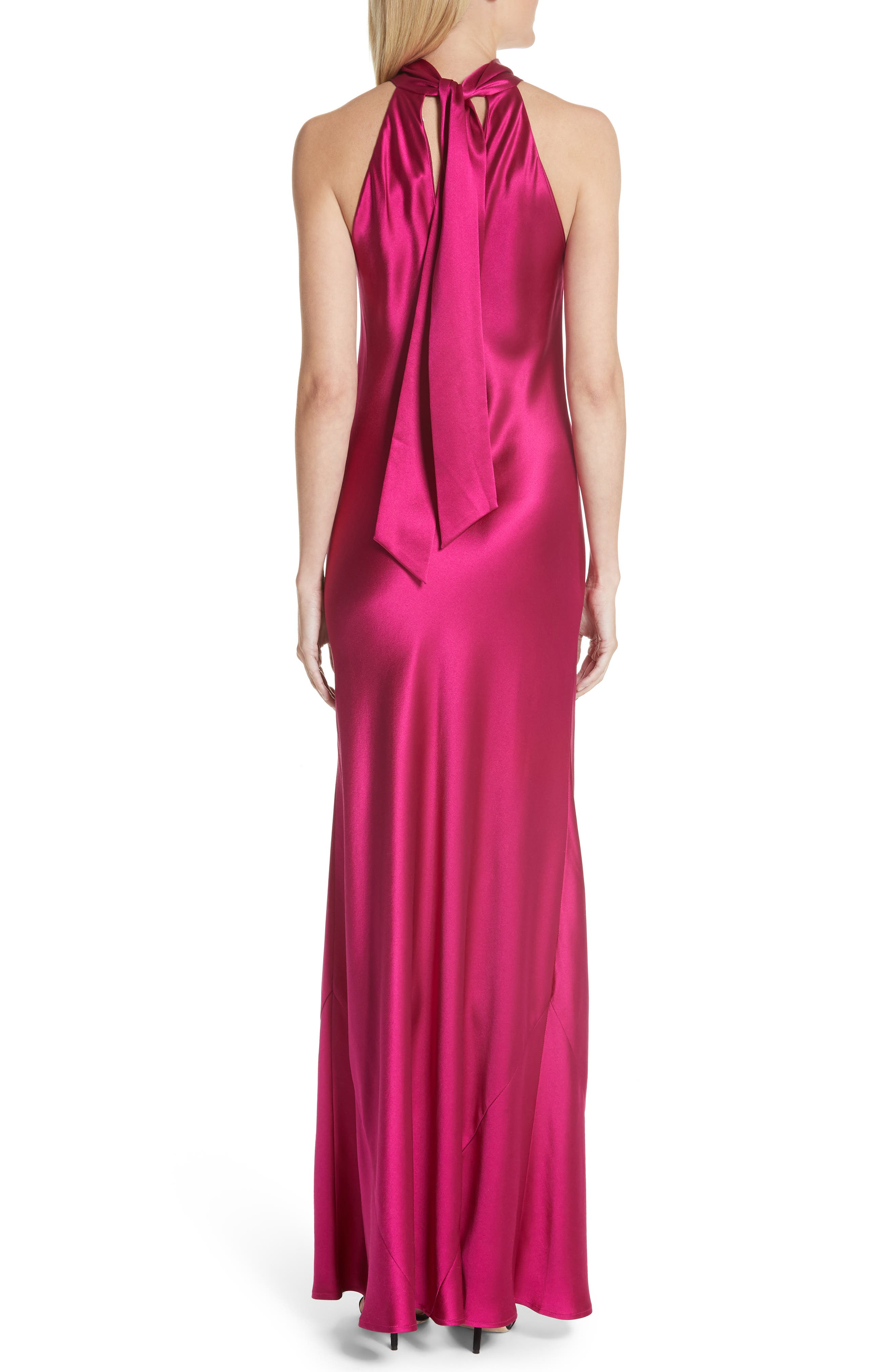Silk Mock Neck Gown,                             Alternate thumbnail 2, color,                             RASPBERRY