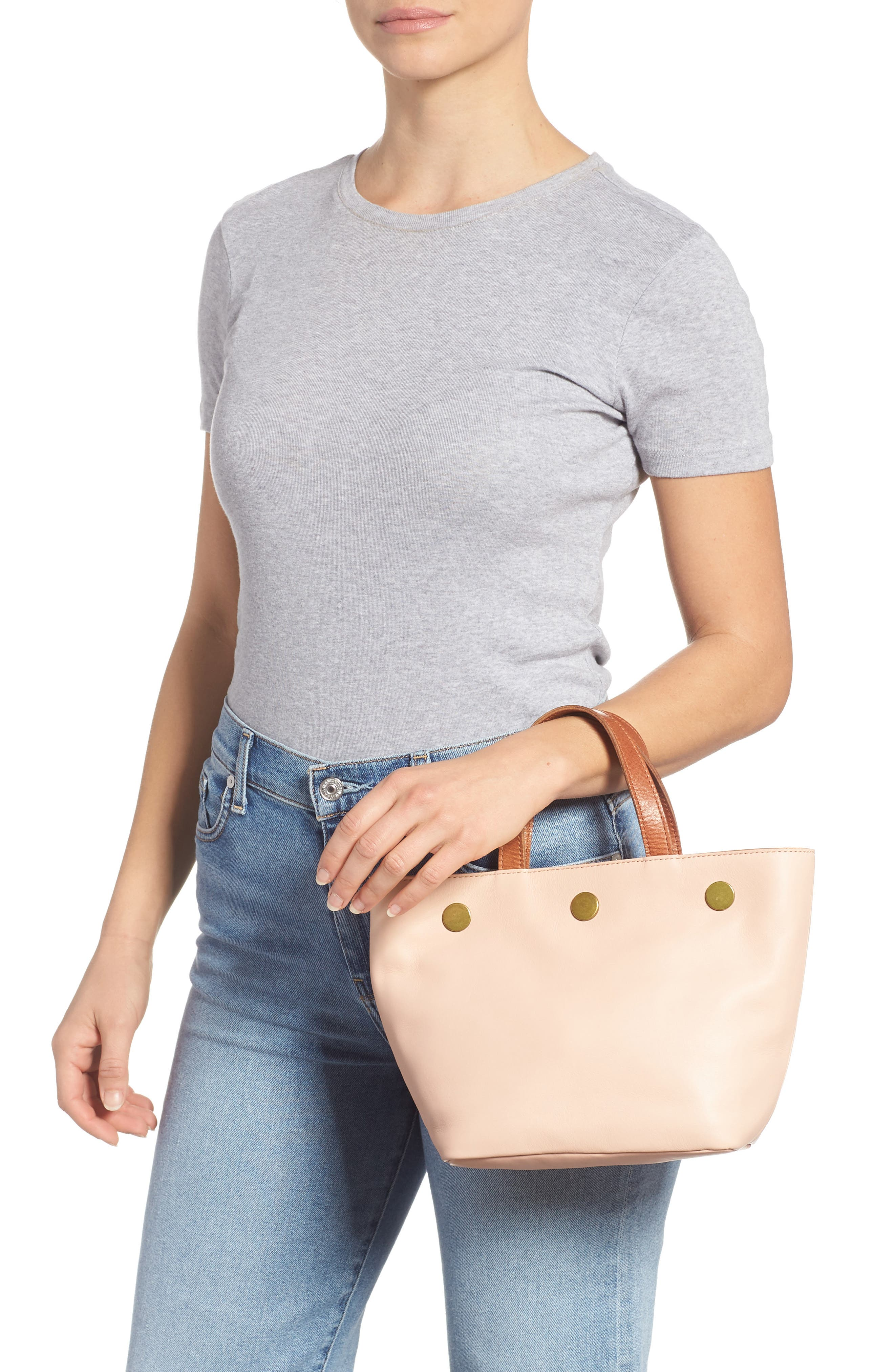Leather Top Handle Bag,                             Alternate thumbnail 2, color,                             SHEER PINK