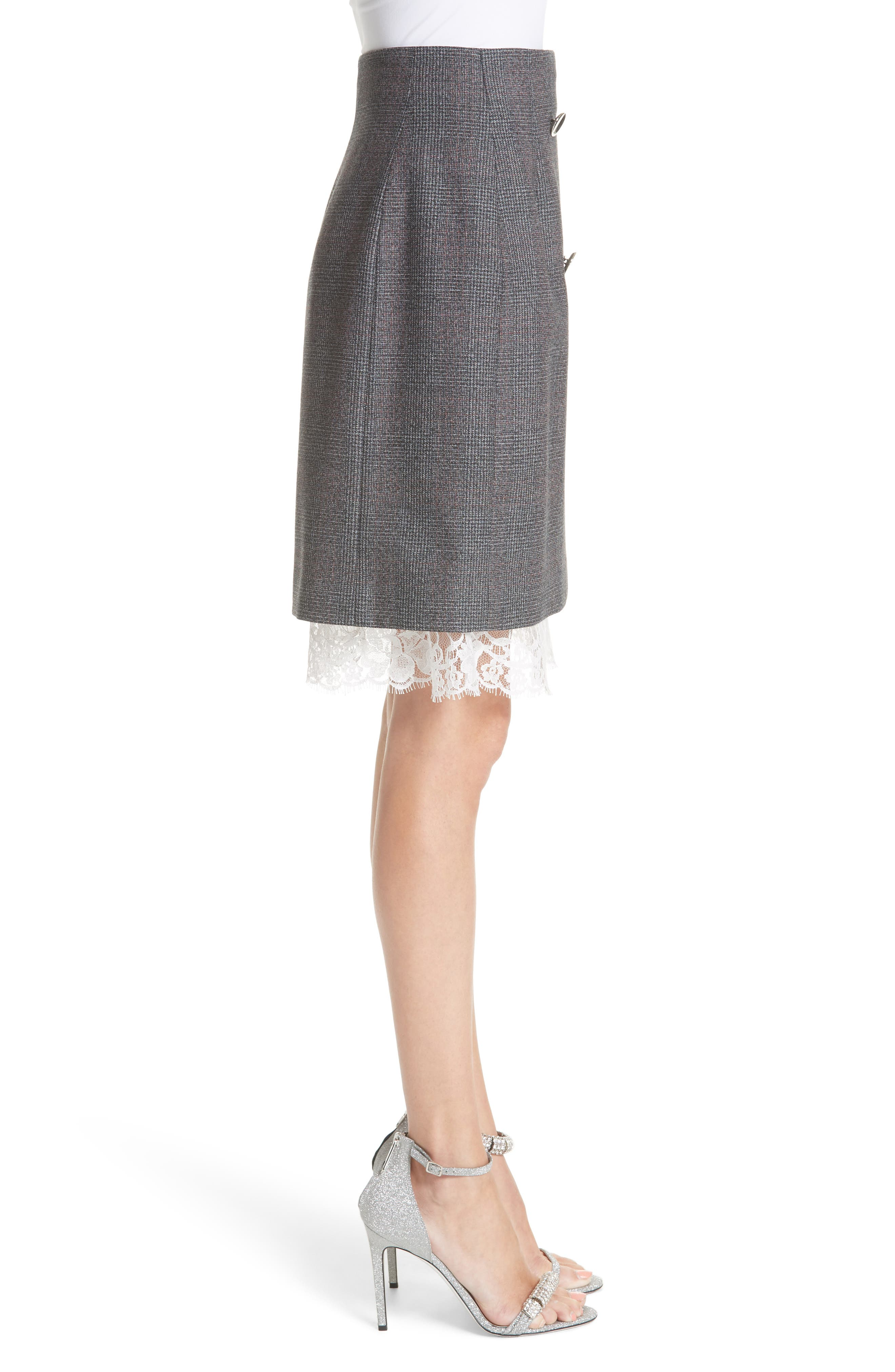 Lace Trim Wool Skirt,                             Alternate thumbnail 4, color,                             DARK GREY GRENADINE