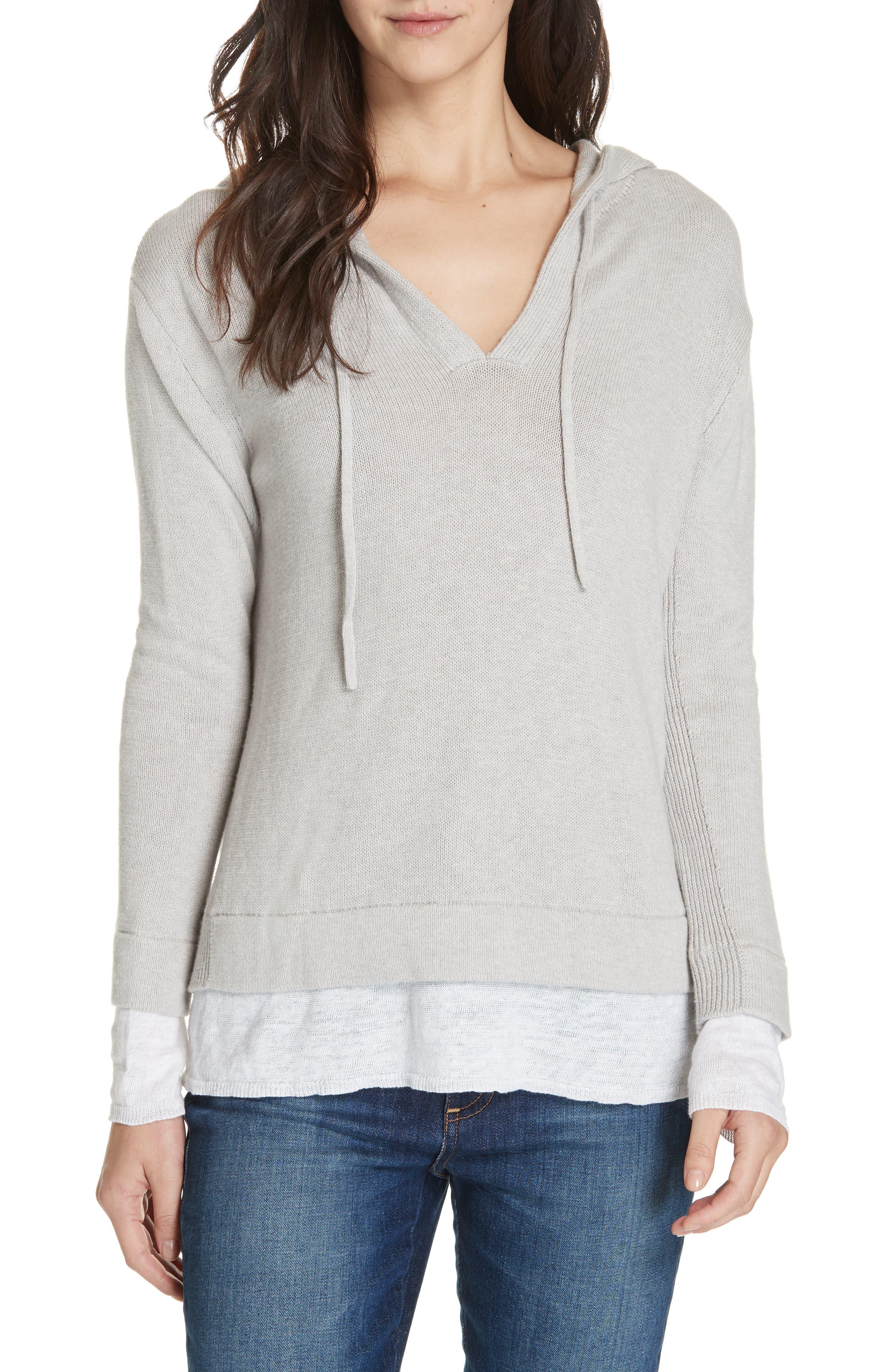 Brochu Walker Contrast Detail Cotton & Cashmere Hoodie, Grey