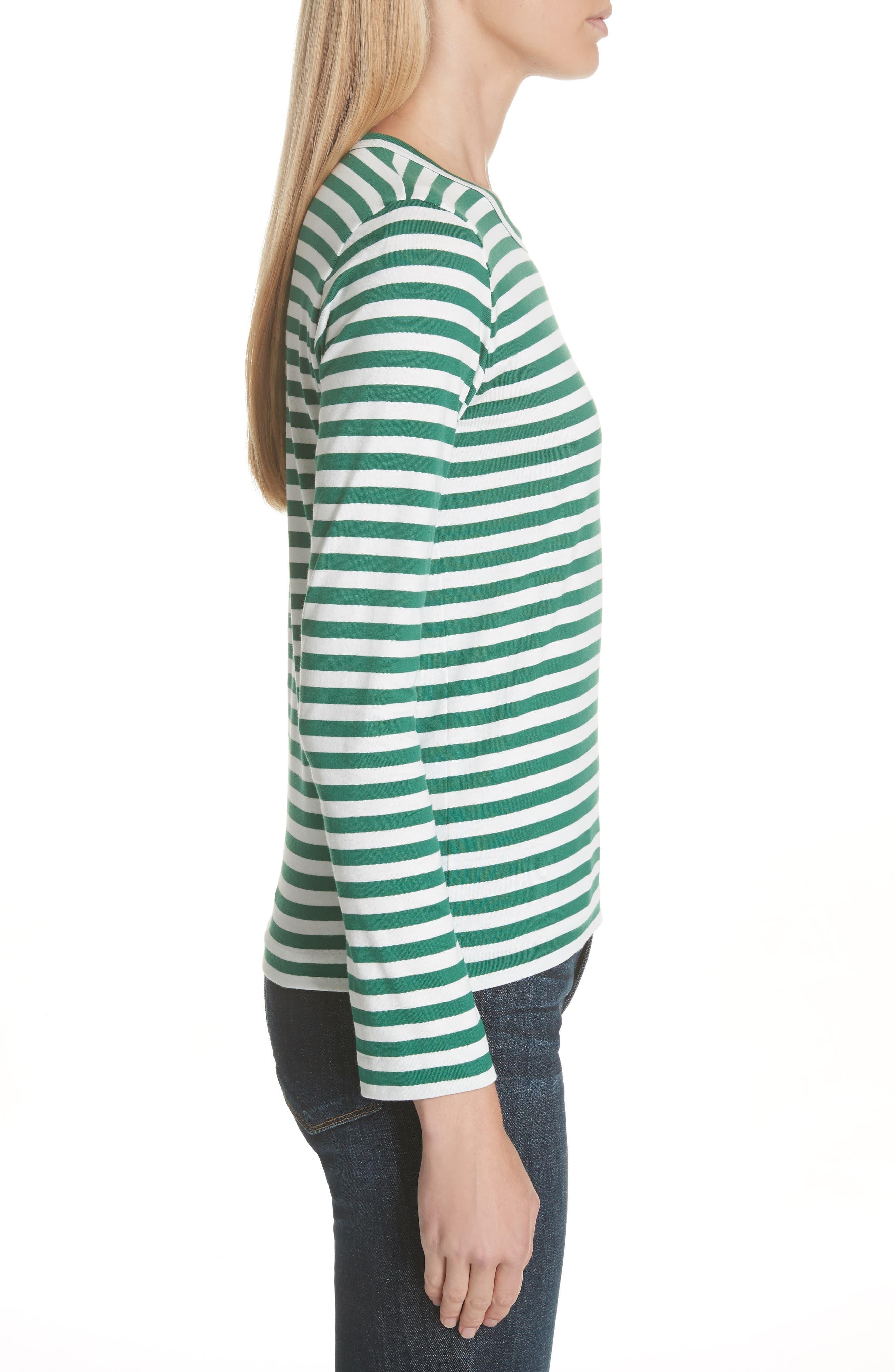 Comme des Garçons PLAY Stripe Cotton Tee,                             Alternate thumbnail 3, color,                             GREEN/ WHITE