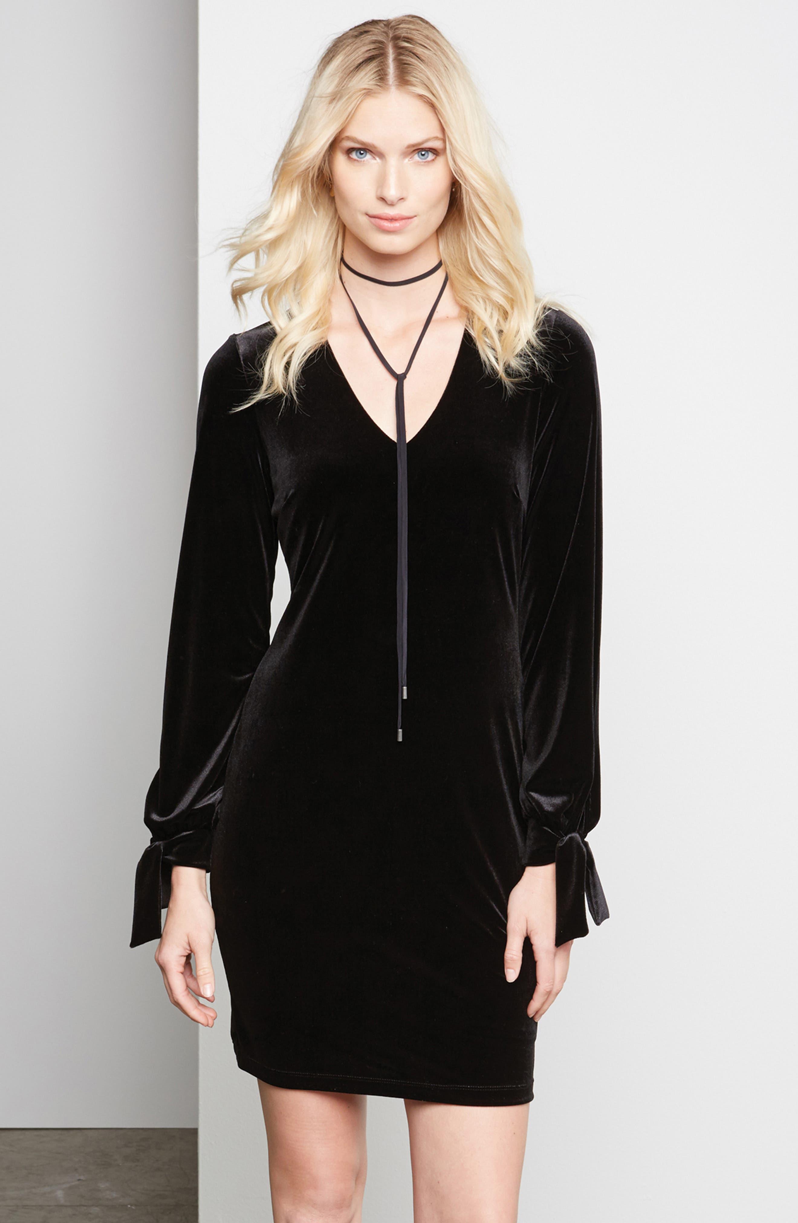 Velvet Tie Sleeve Sheath Dress,                             Alternate thumbnail 3, color,                             BLACK
