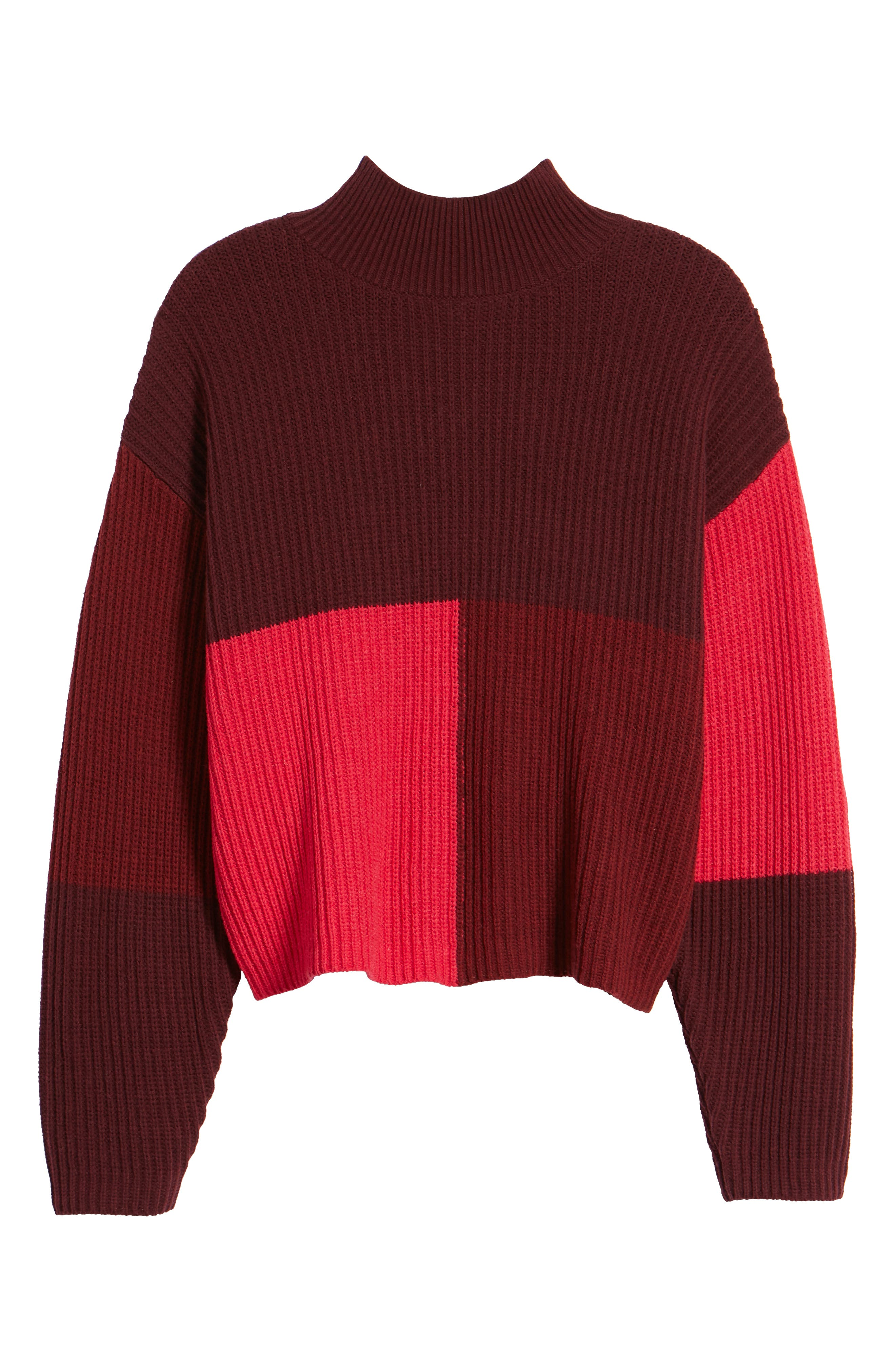 Mock Neck Colorblock Sweater,                             Alternate thumbnail 6, color,                             RED RUMBA COLORBLOCK