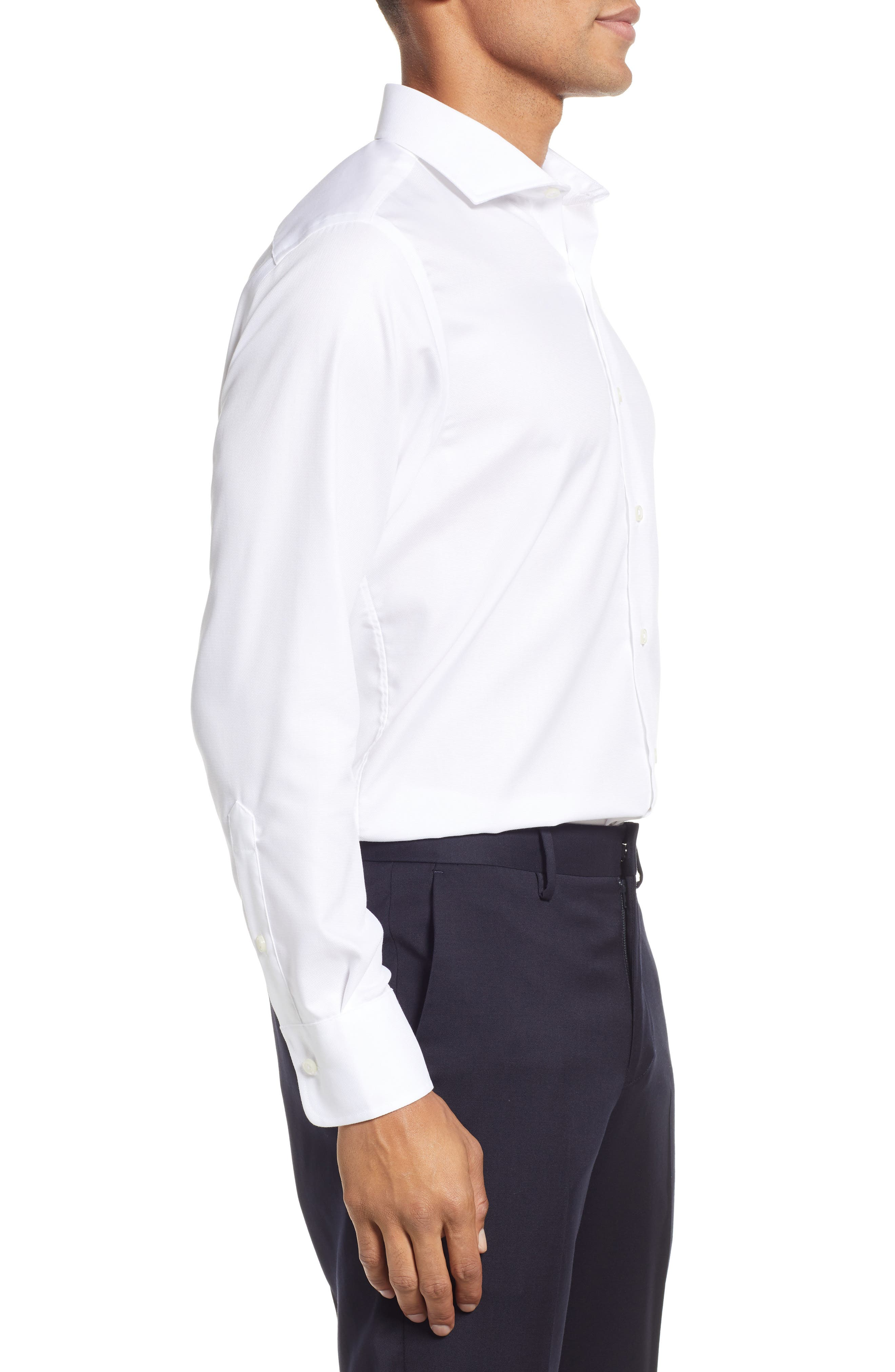 Classic Fit Solid Dress Shirt,                             Alternate thumbnail 4, color,                             WHITE