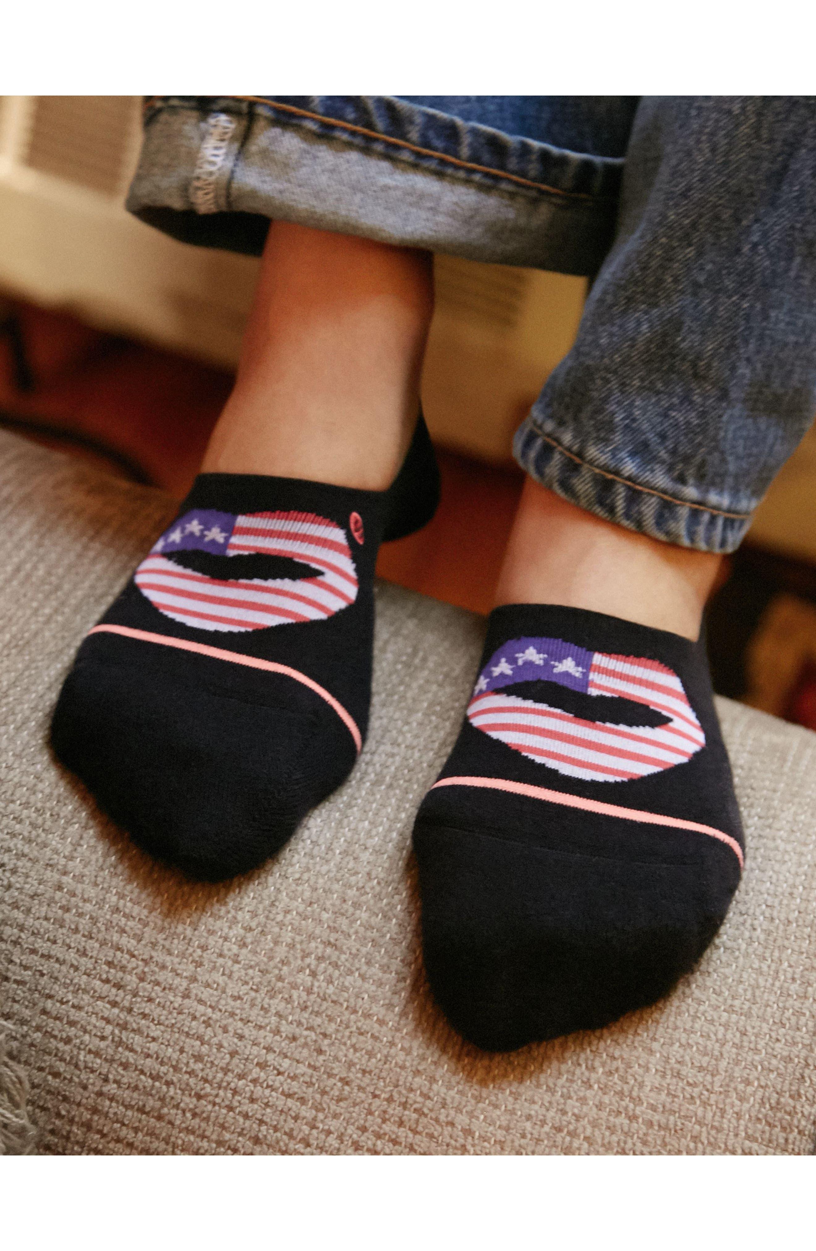 Kiss My Flag No Show Socks,                             Alternate thumbnail 3, color,                             001