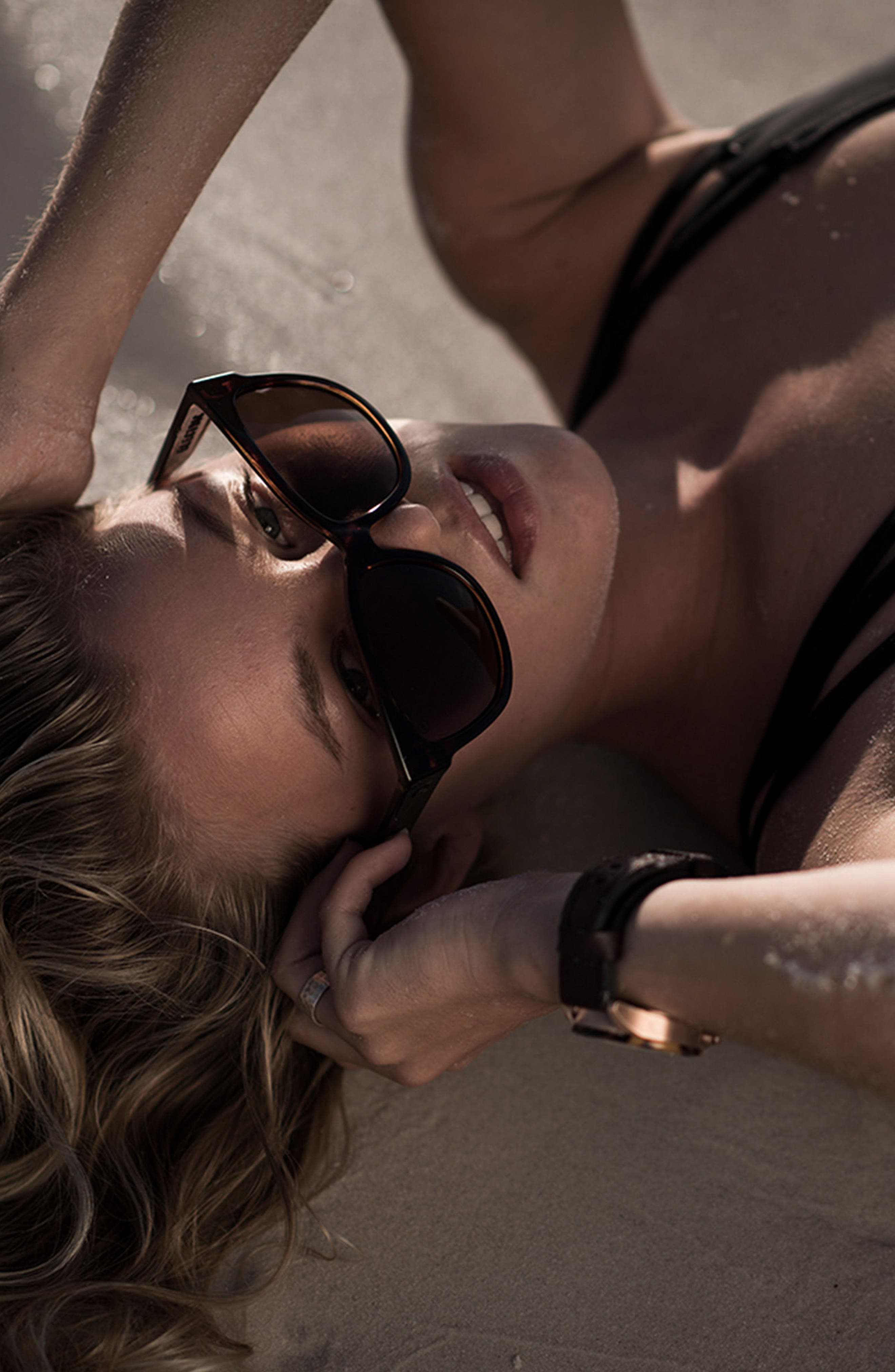 'Danger Cat' 58mm Cat Eye Sunglasses,                             Alternate thumbnail 9, color,                             MATTE BLACK/ BLACK GRADIENT