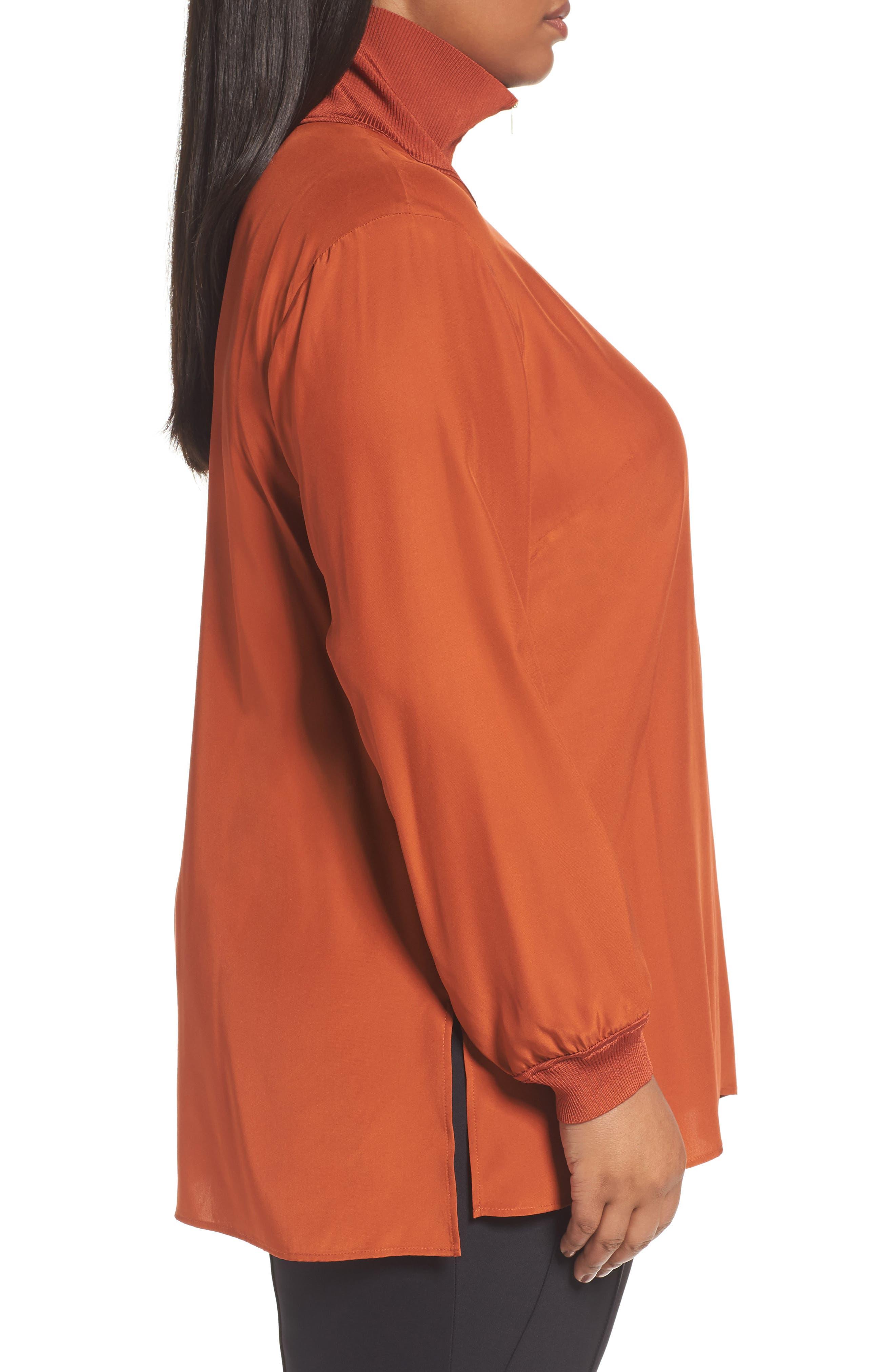 Lafayette Daryn V-Neck Zip Silk Blouse,                             Alternate thumbnail 3, color,                             096