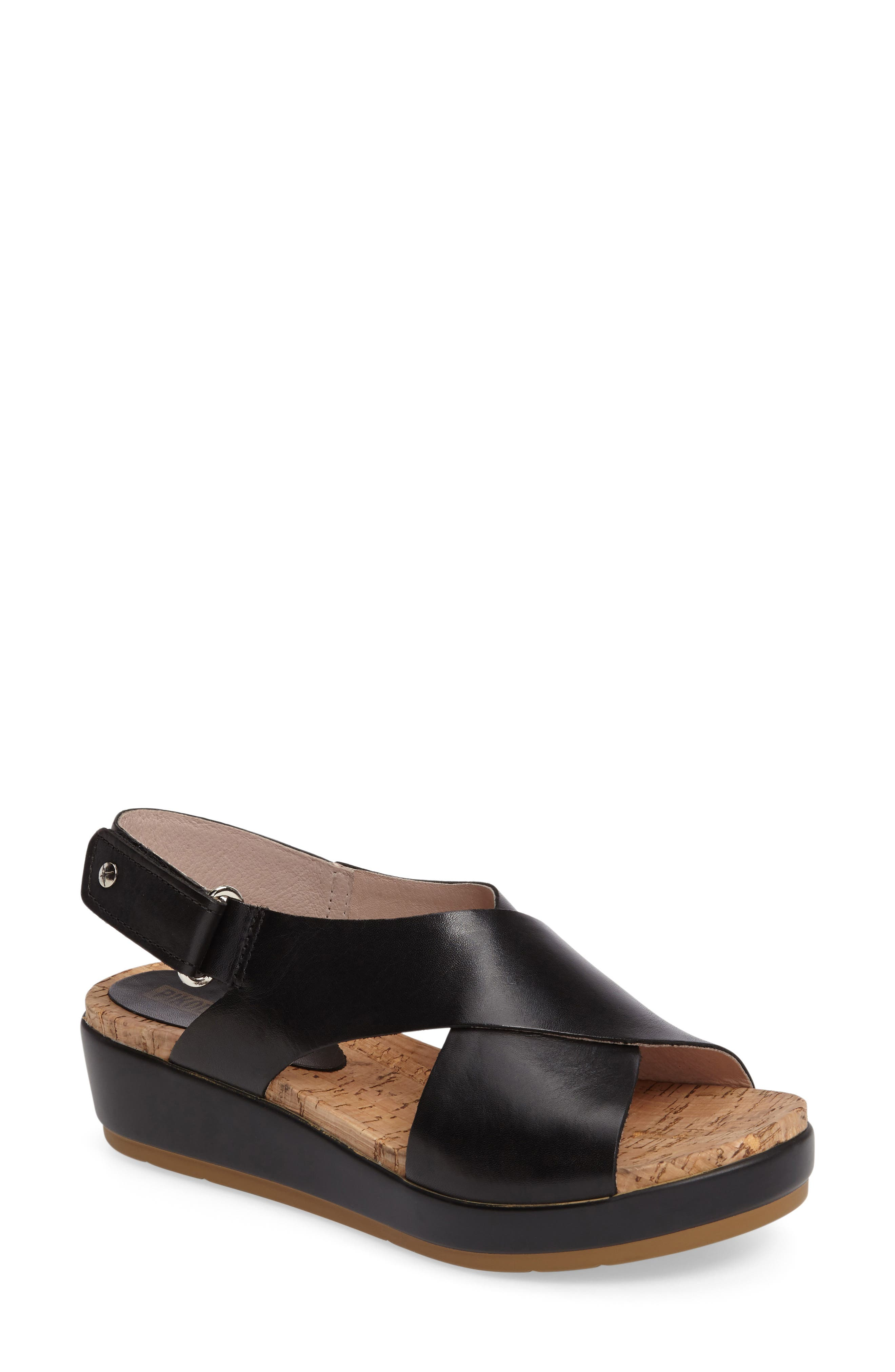 'Mykonos' Platform Sandal,                             Main thumbnail 1, color,                             BLACK/ BLACK LEATHER