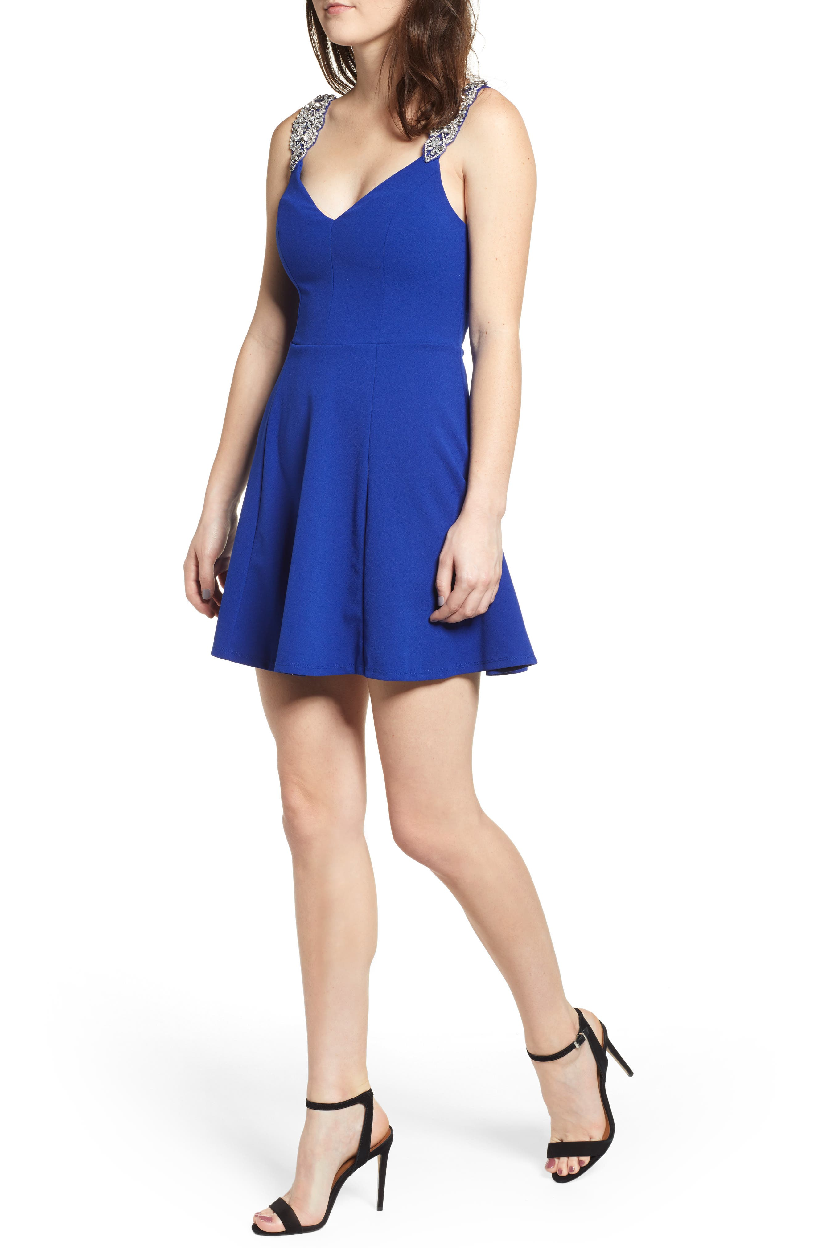 Jewel Strap Skater Dress,                             Main thumbnail 1, color,                             ROYAL