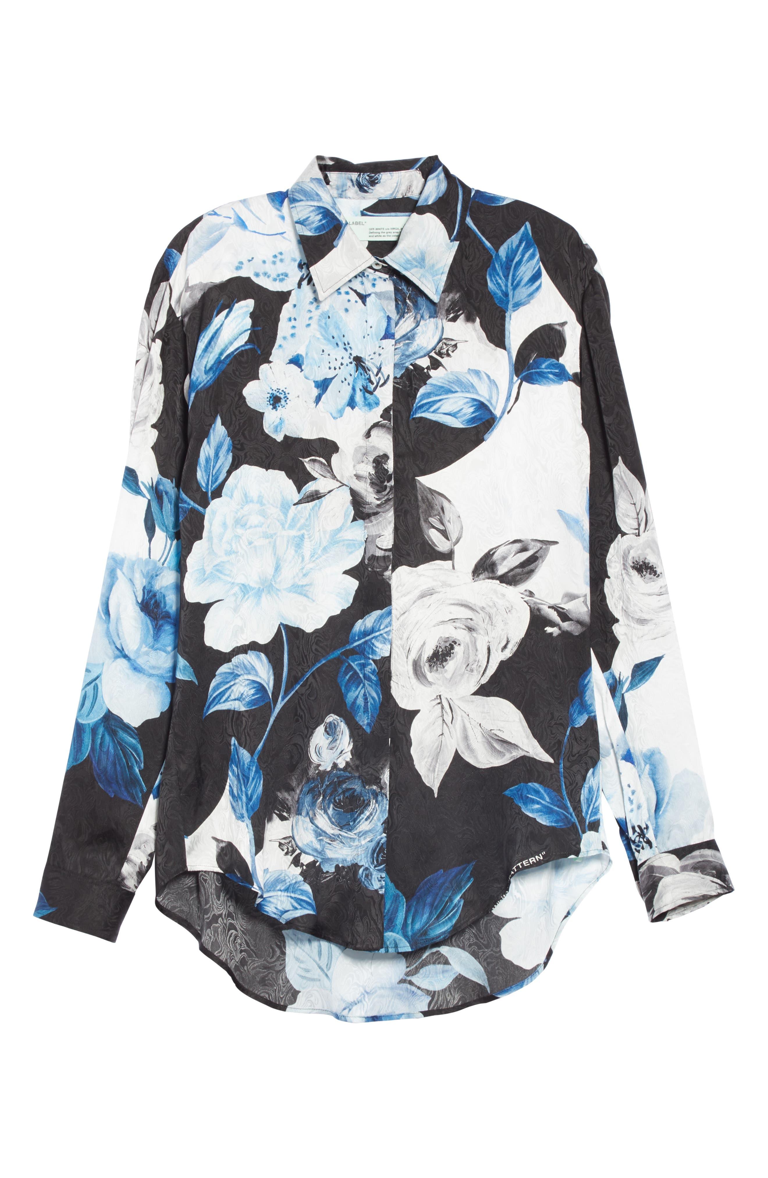 Floral Silk Blouse,                             Alternate thumbnail 6, color,                             001