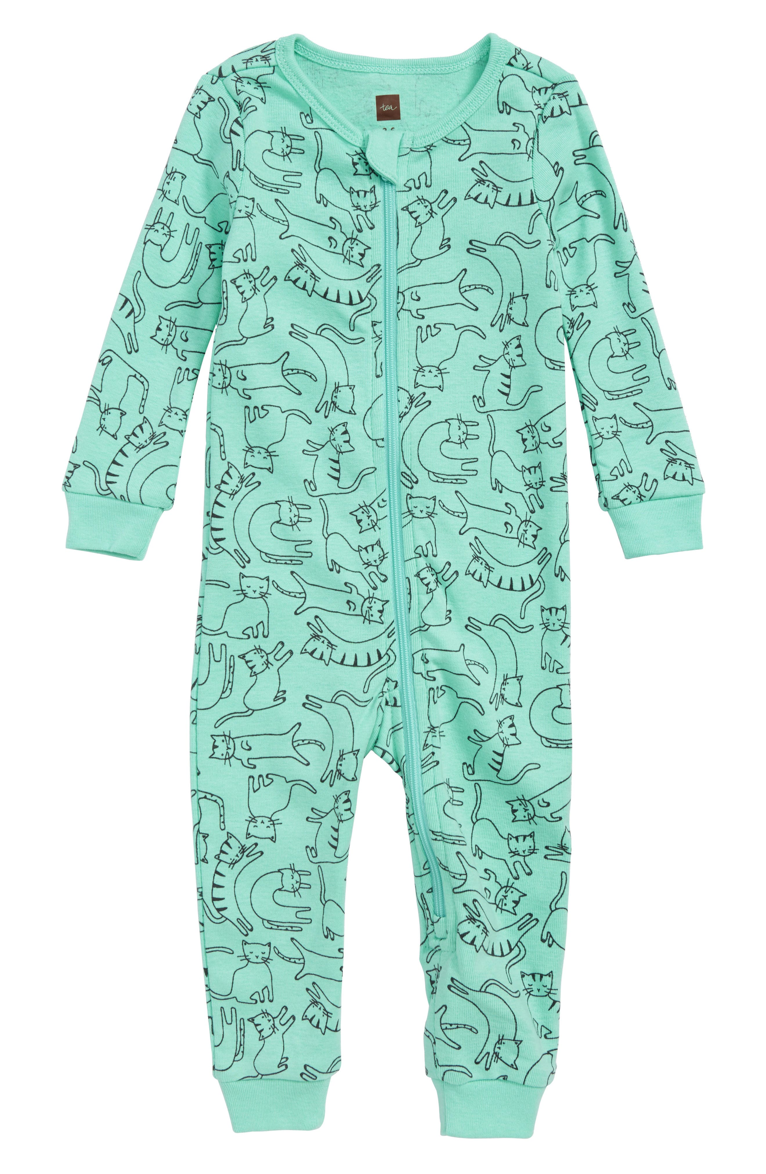Printed Fitted One-Piece Pajamas,                         Main,                         color, 374