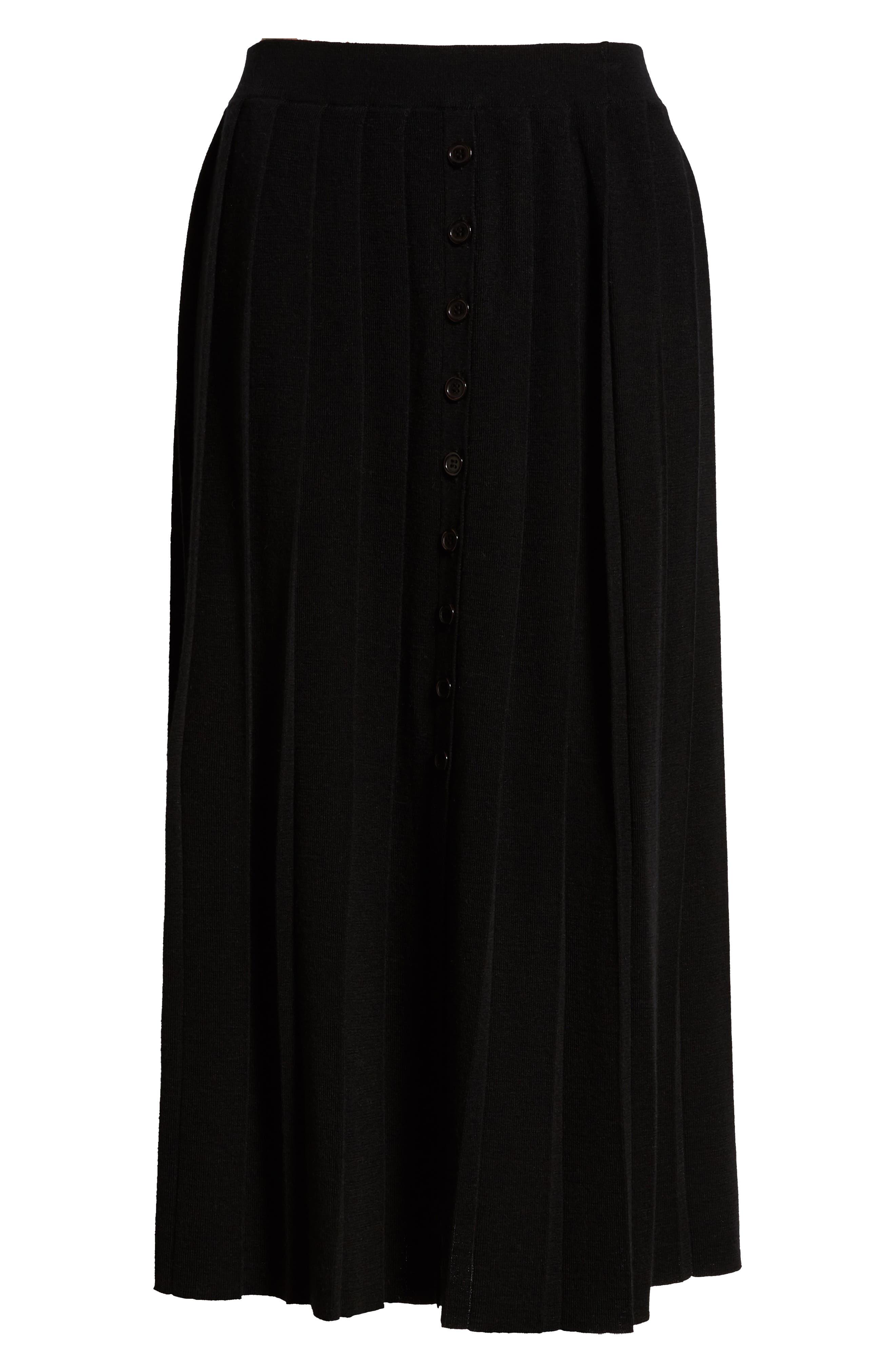Pleated Sweater Skirt,                             Alternate thumbnail 6, color,                             BLACK