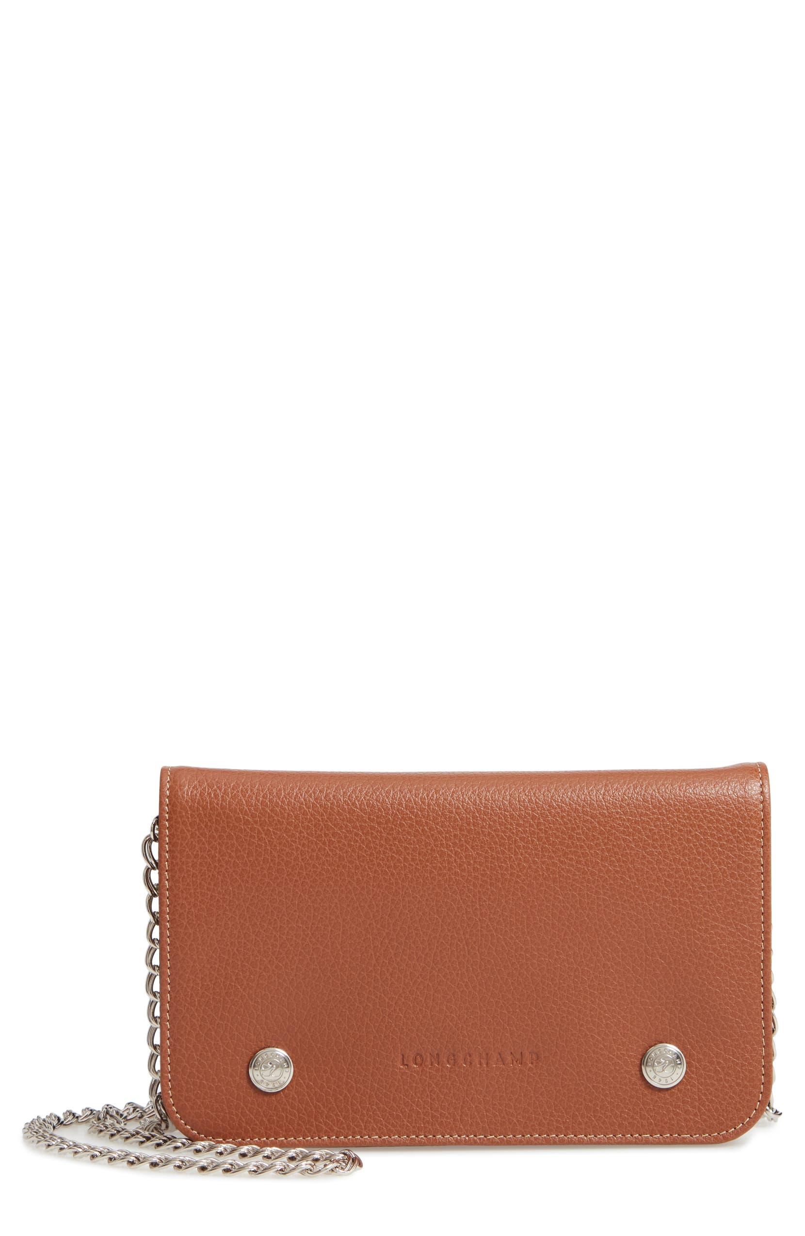 23d84a84a71e Longchamp Le Foulonné Leather Wallet on a Chain