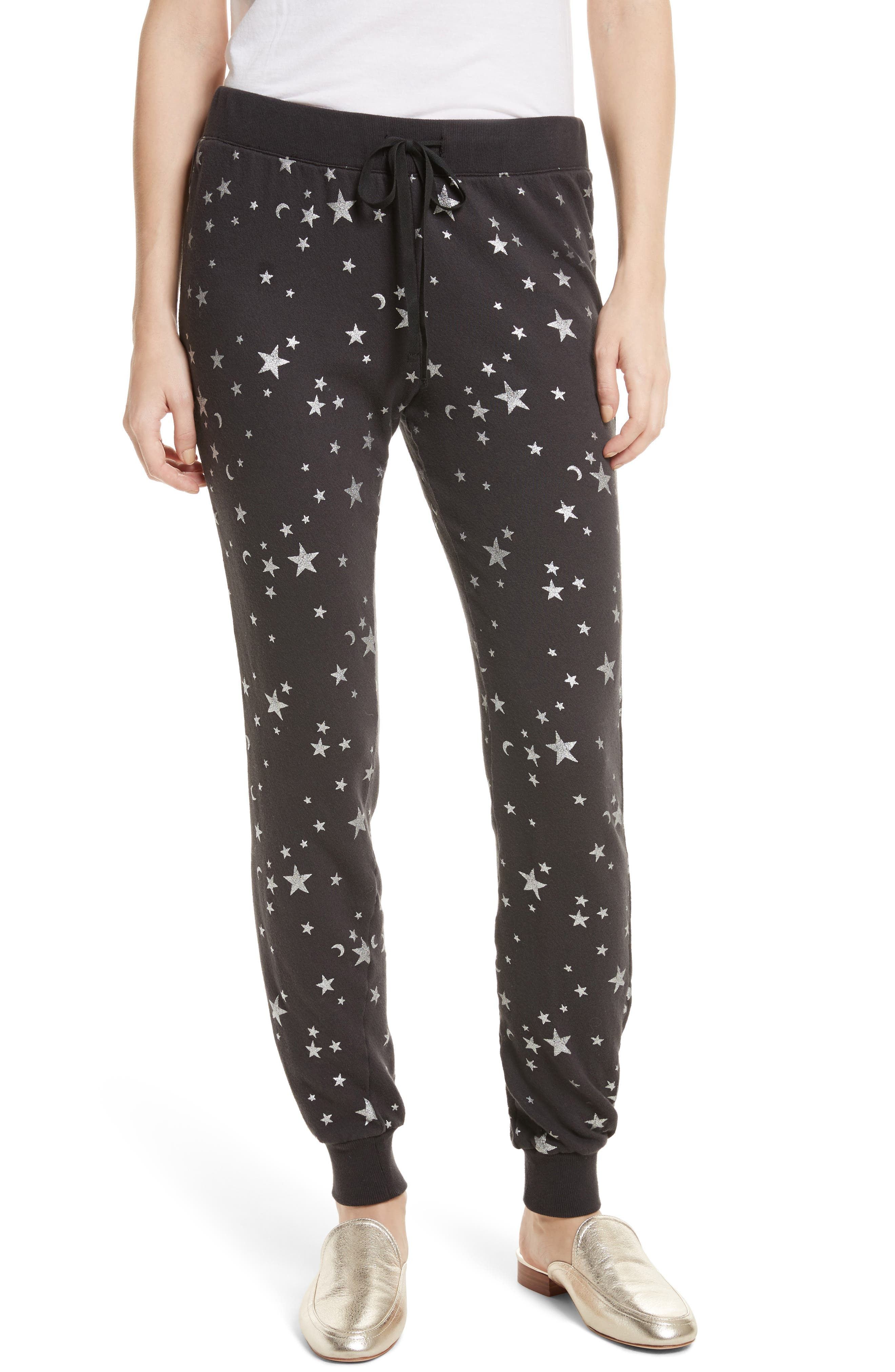 Tendra B Metallic Sweatpants,                             Main thumbnail 1, color,                             002