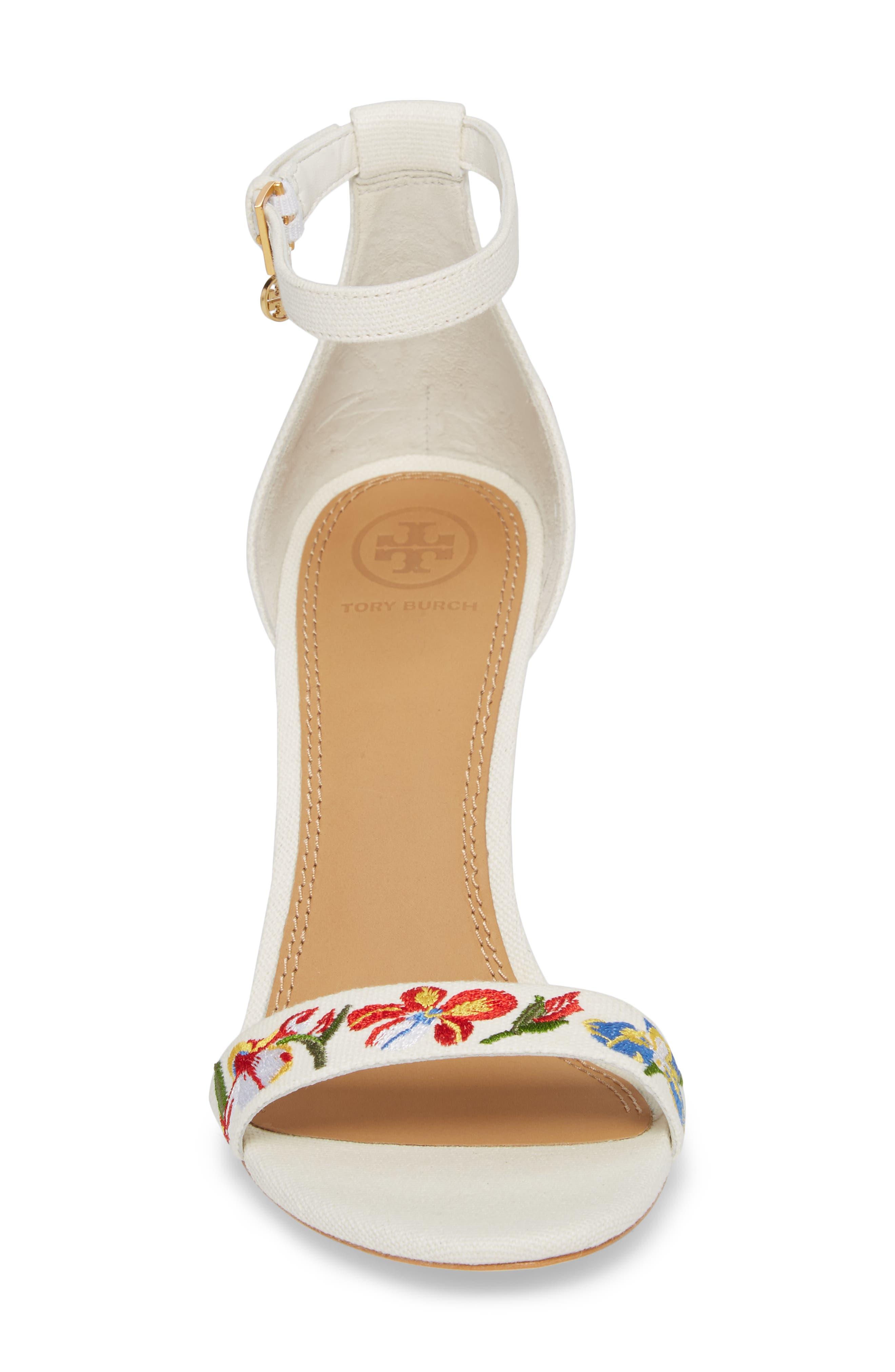 Ellie Embroidered Ankle Strap Sandal,                             Alternate thumbnail 4, color,