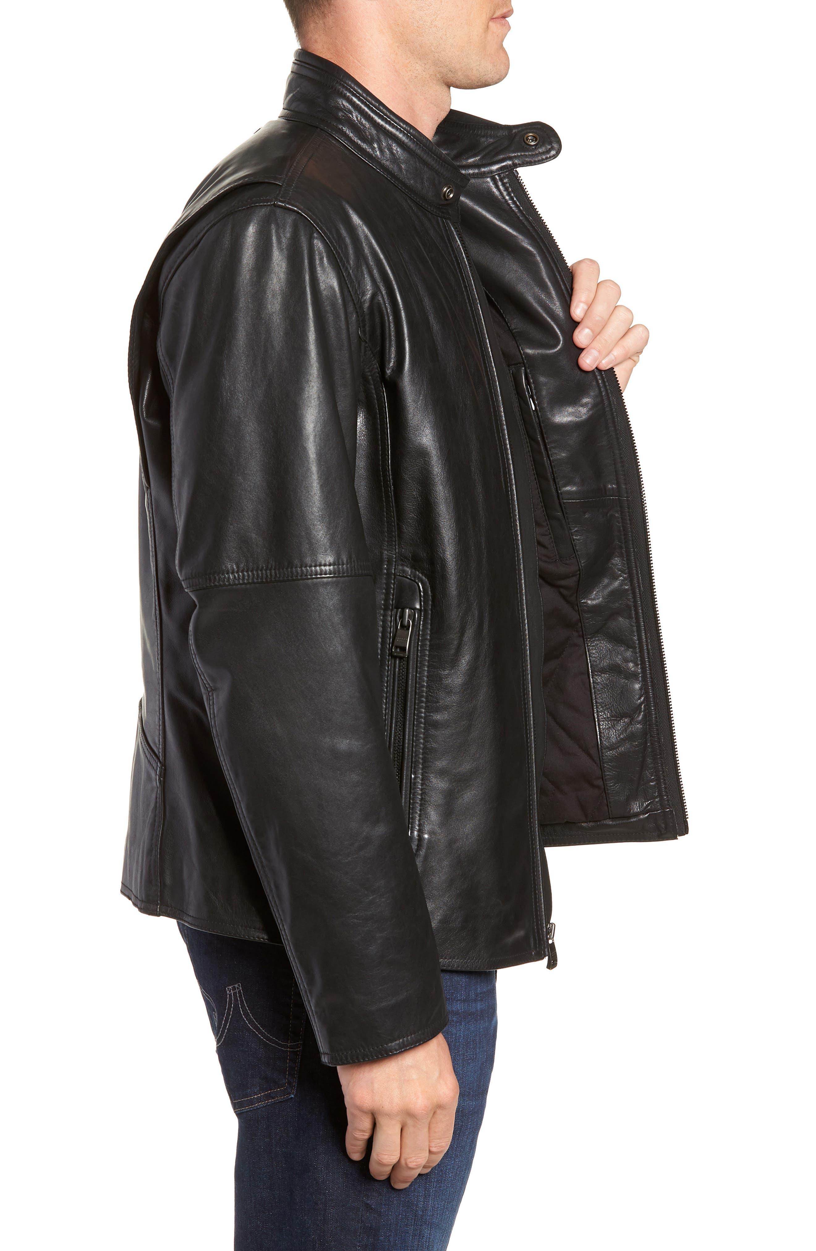 Emerson Lightweight Leather Moto Jacket,                             Alternate thumbnail 3, color,                             BLACK