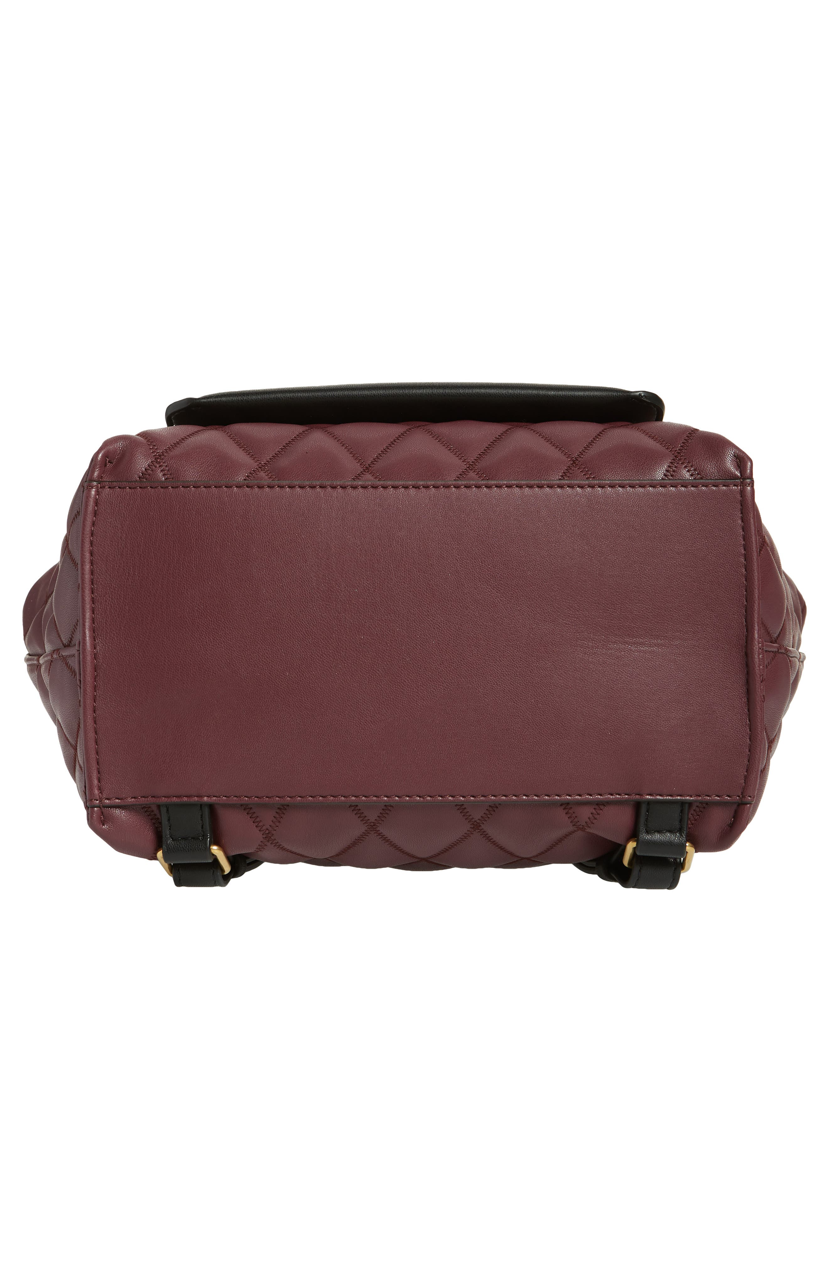 Duo Quilted Faux Leather Backpack,                             Alternate thumbnail 6, color,                             AUBERGINE