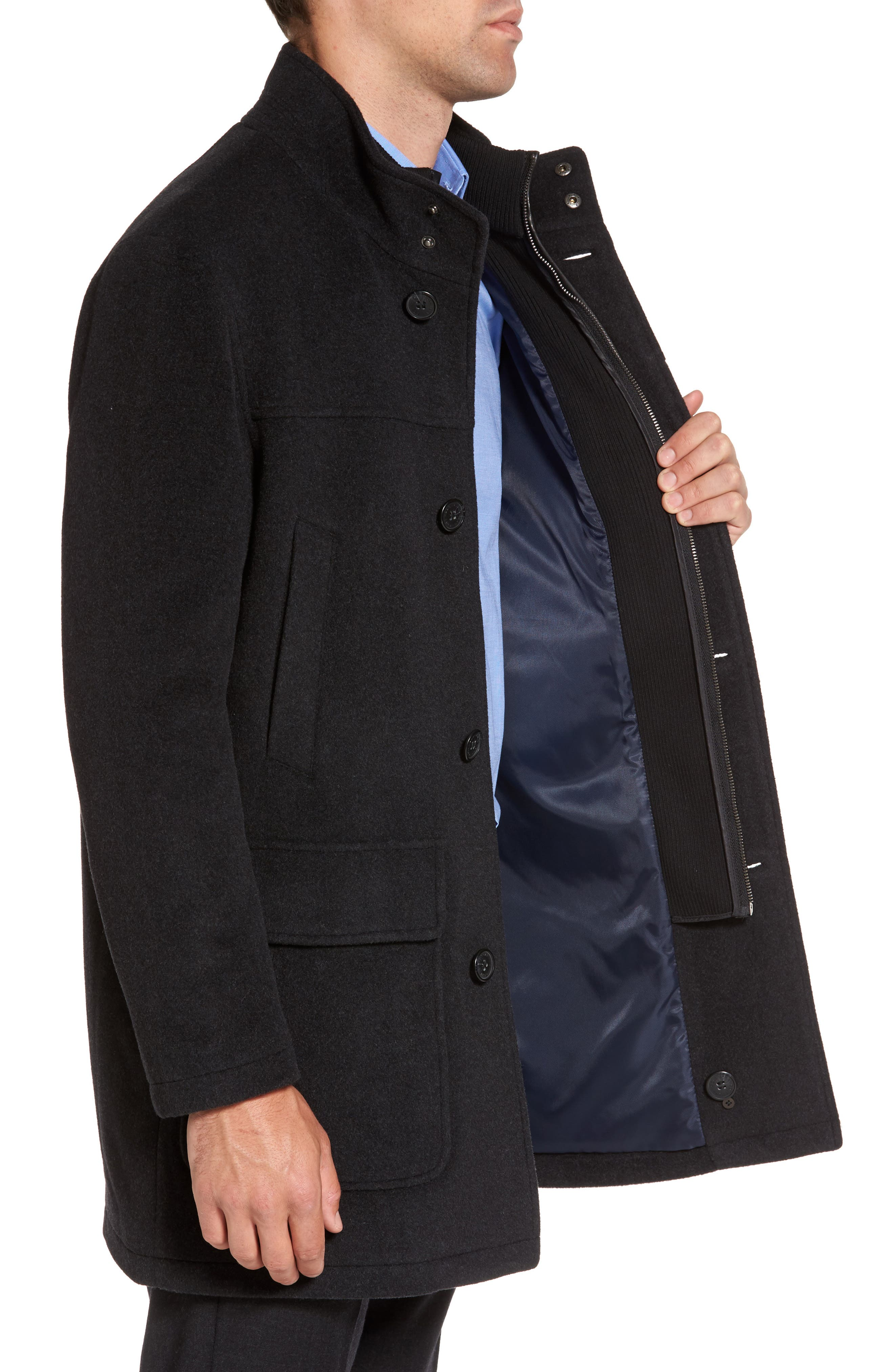 Wool Blend Topcoat with Inset Bib,                             Alternate thumbnail 11, color,