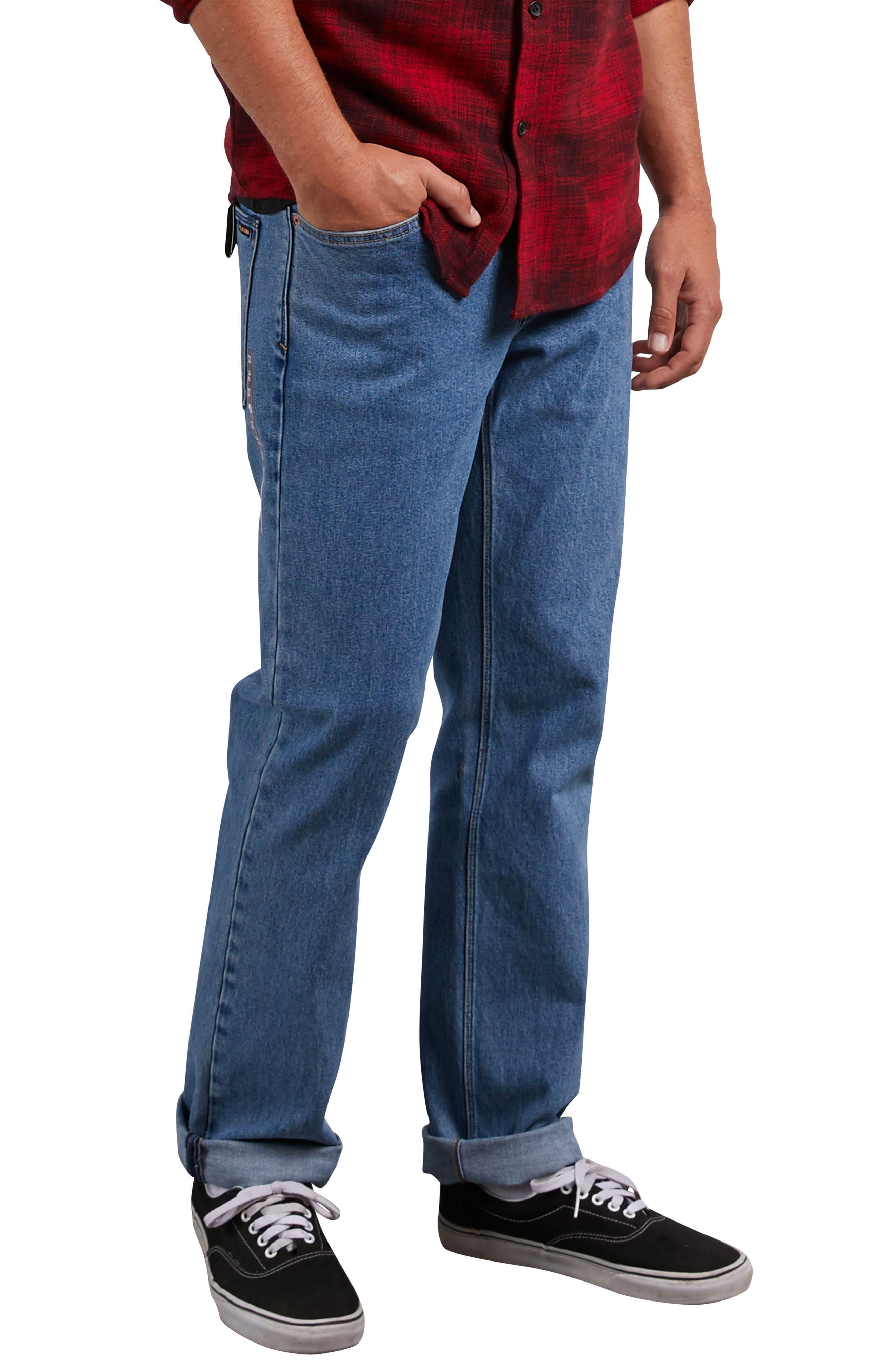 Solver Straight Leg Jeans,                             Alternate thumbnail 3, color,                             STONE BLUE