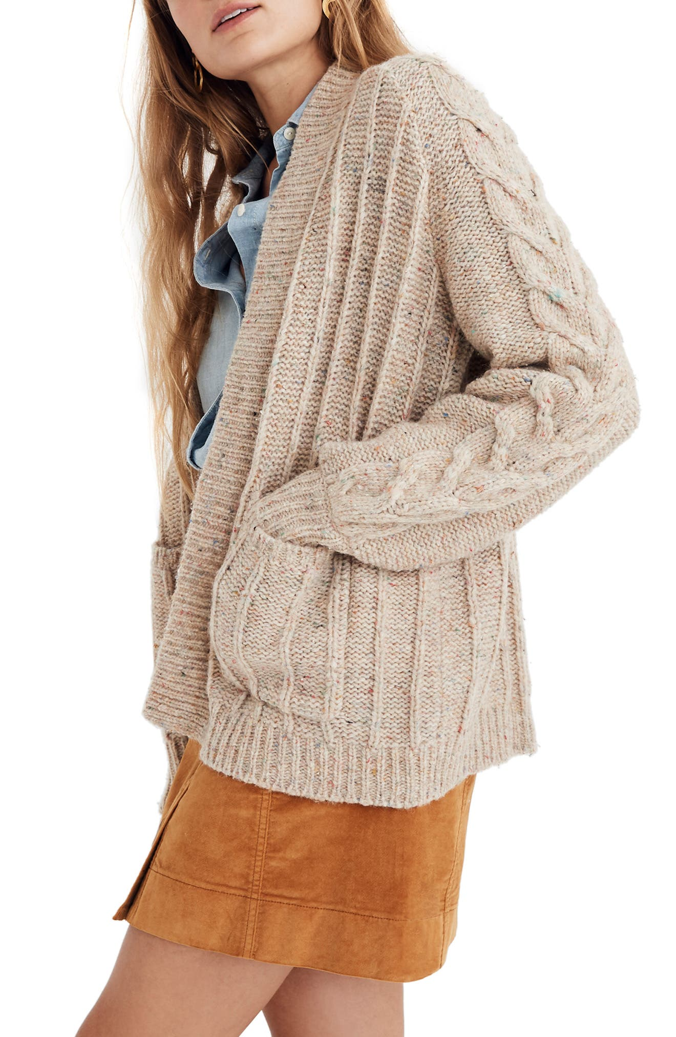 Bubble Sleeve Cable Knit Cardigan Sweater,                             Alternate thumbnail 3, color,                             DONEGAL FUNFETTI
