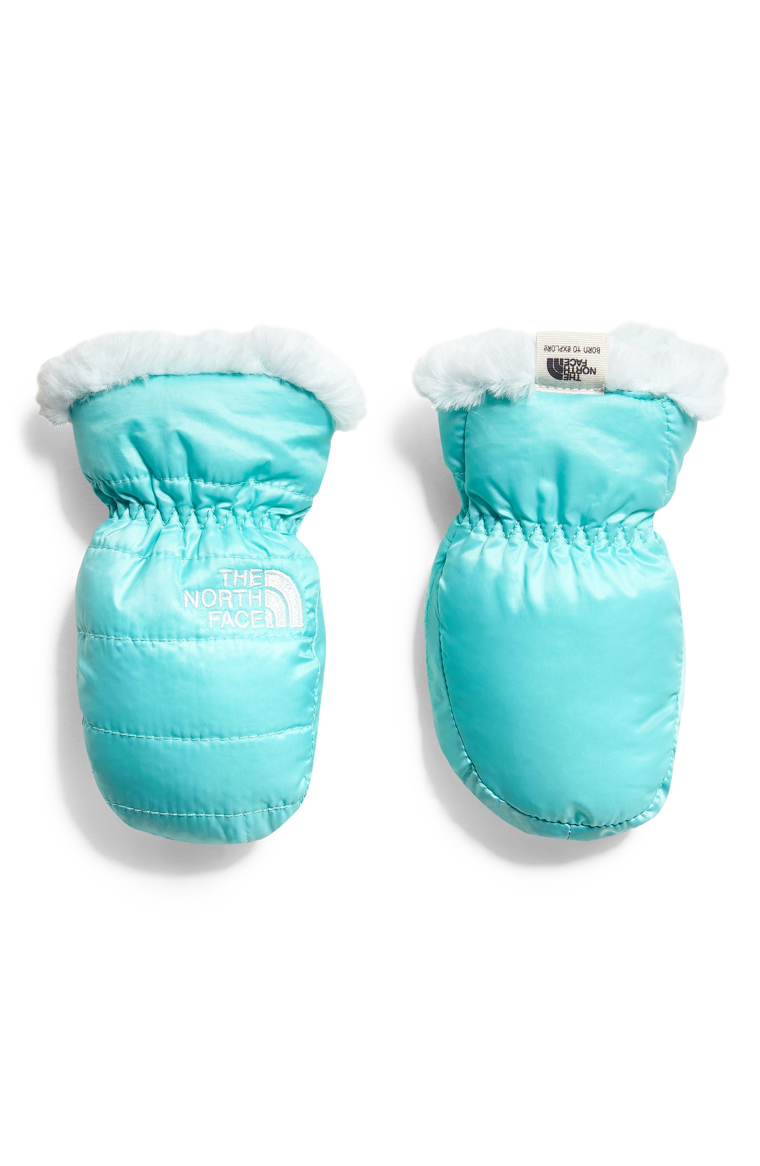 Mossbud Swirl Reversible Water Resistant Heatseeker<sup>™</sup> Insulated Mittens,                             Main thumbnail 1, color,                             MINT BLUE/ ORIGIN BLUE