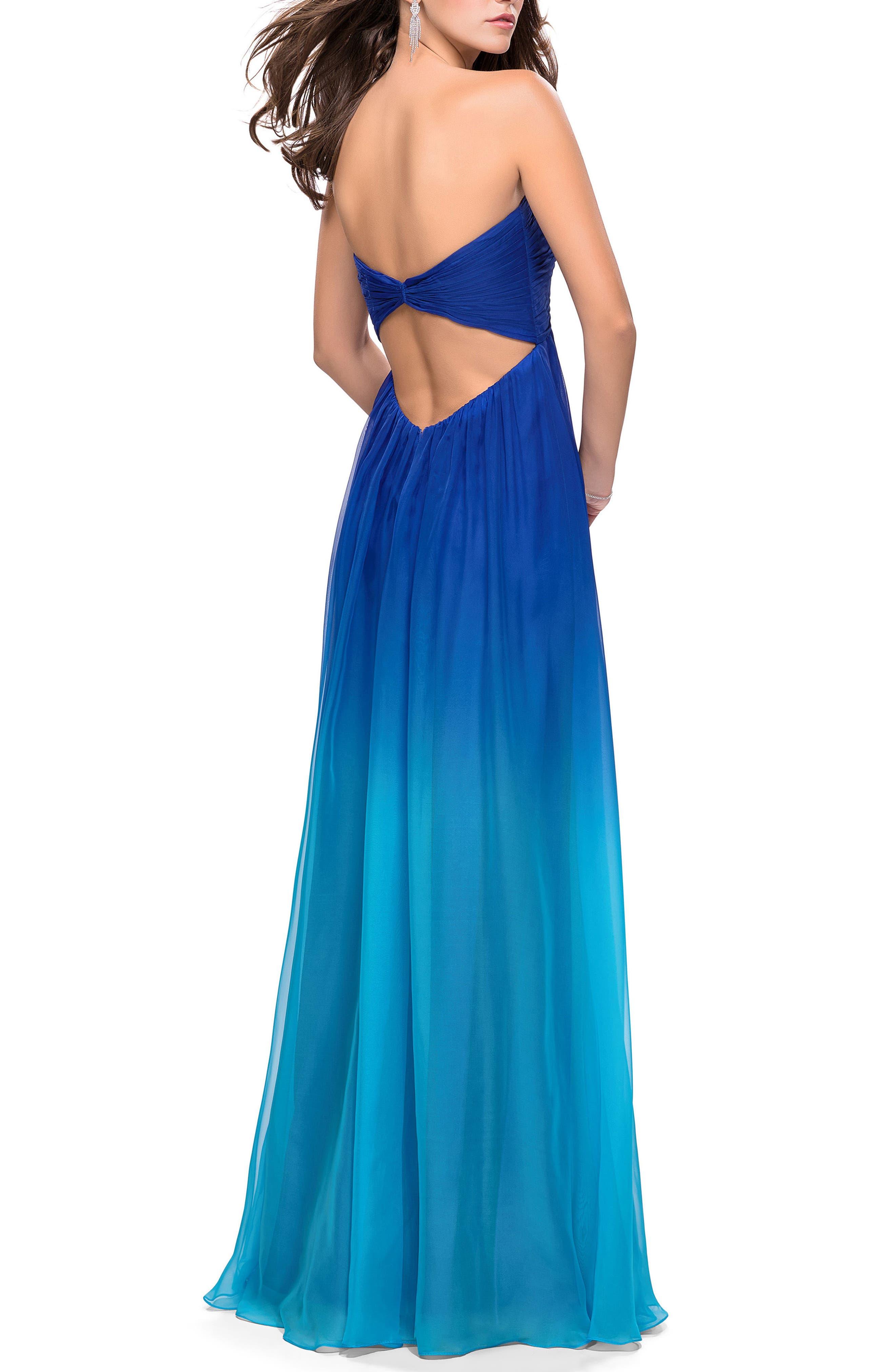 LA FEMME,                             Ruched Ombré Chiffon Strapless Gown,                             Alternate thumbnail 2, color,                             440