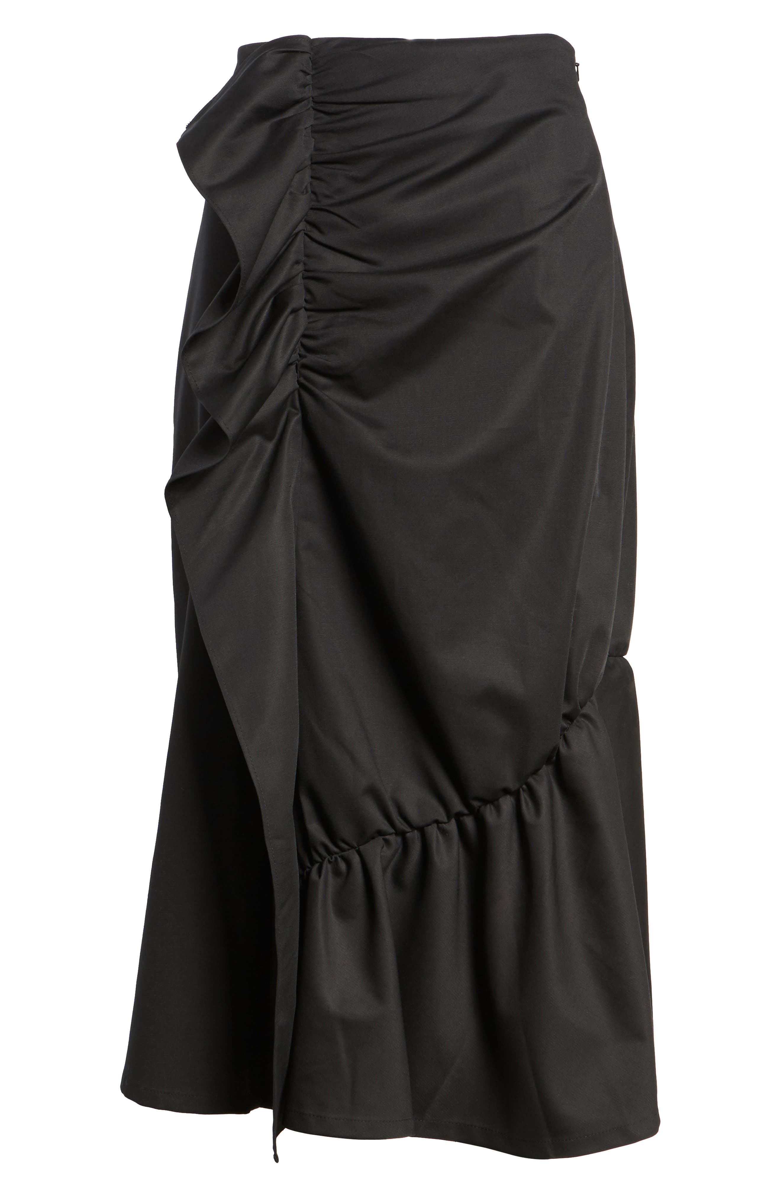 Ruffle Front Skirt,                             Alternate thumbnail 6, color,                             001