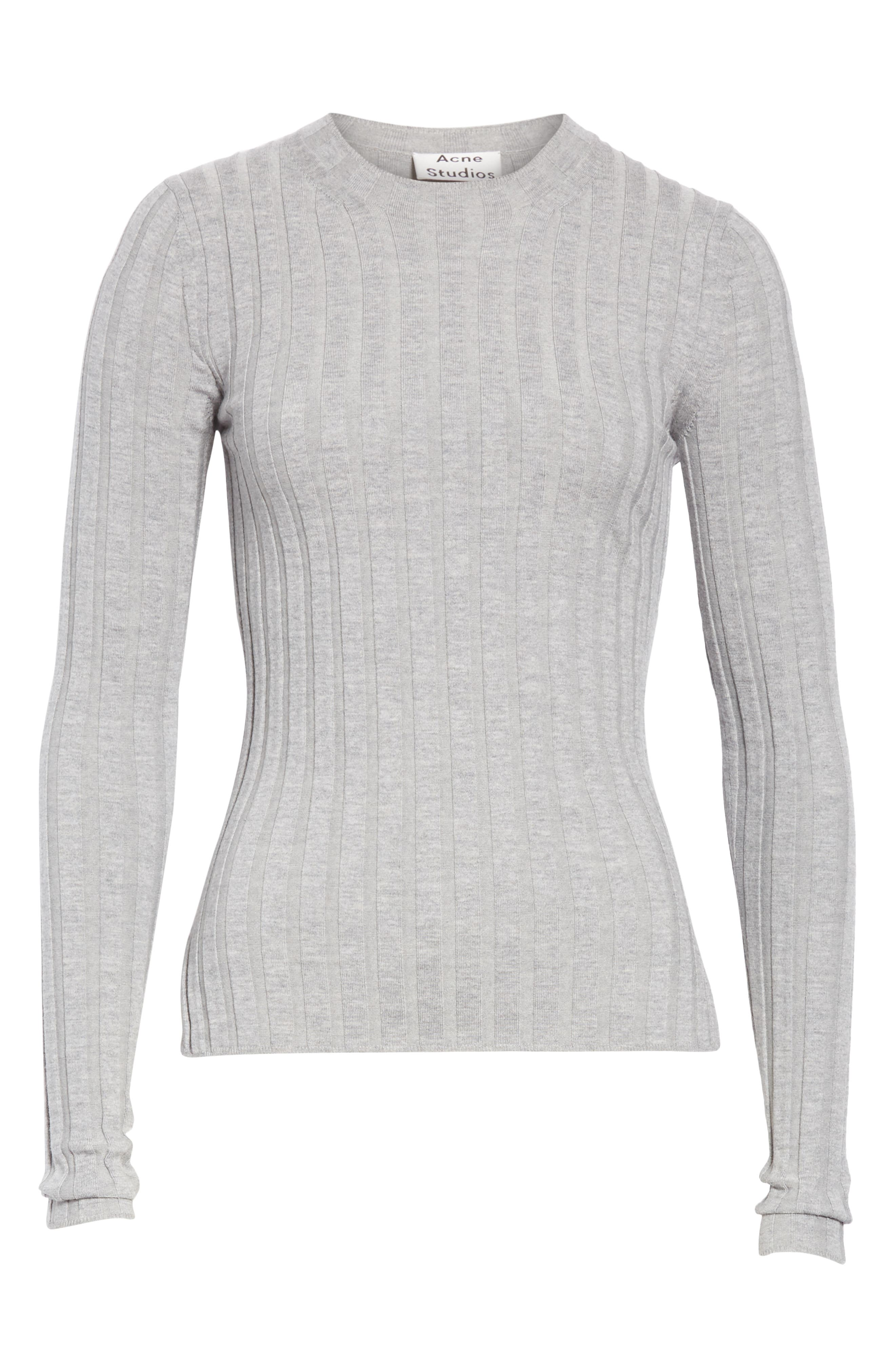 Carina Fitted Crewneck Sweater,                             Alternate thumbnail 6, color,                             SILVER GREY