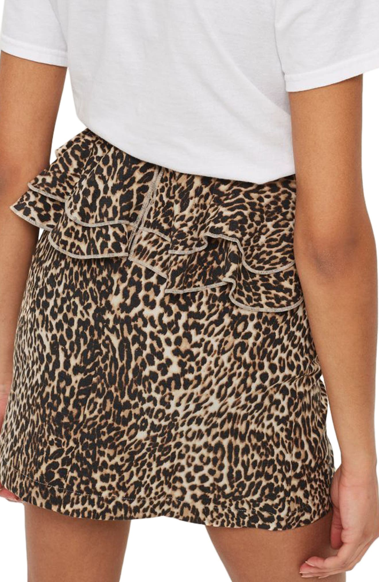 Leopard Print Ruffle Skirt,                             Alternate thumbnail 2, color,