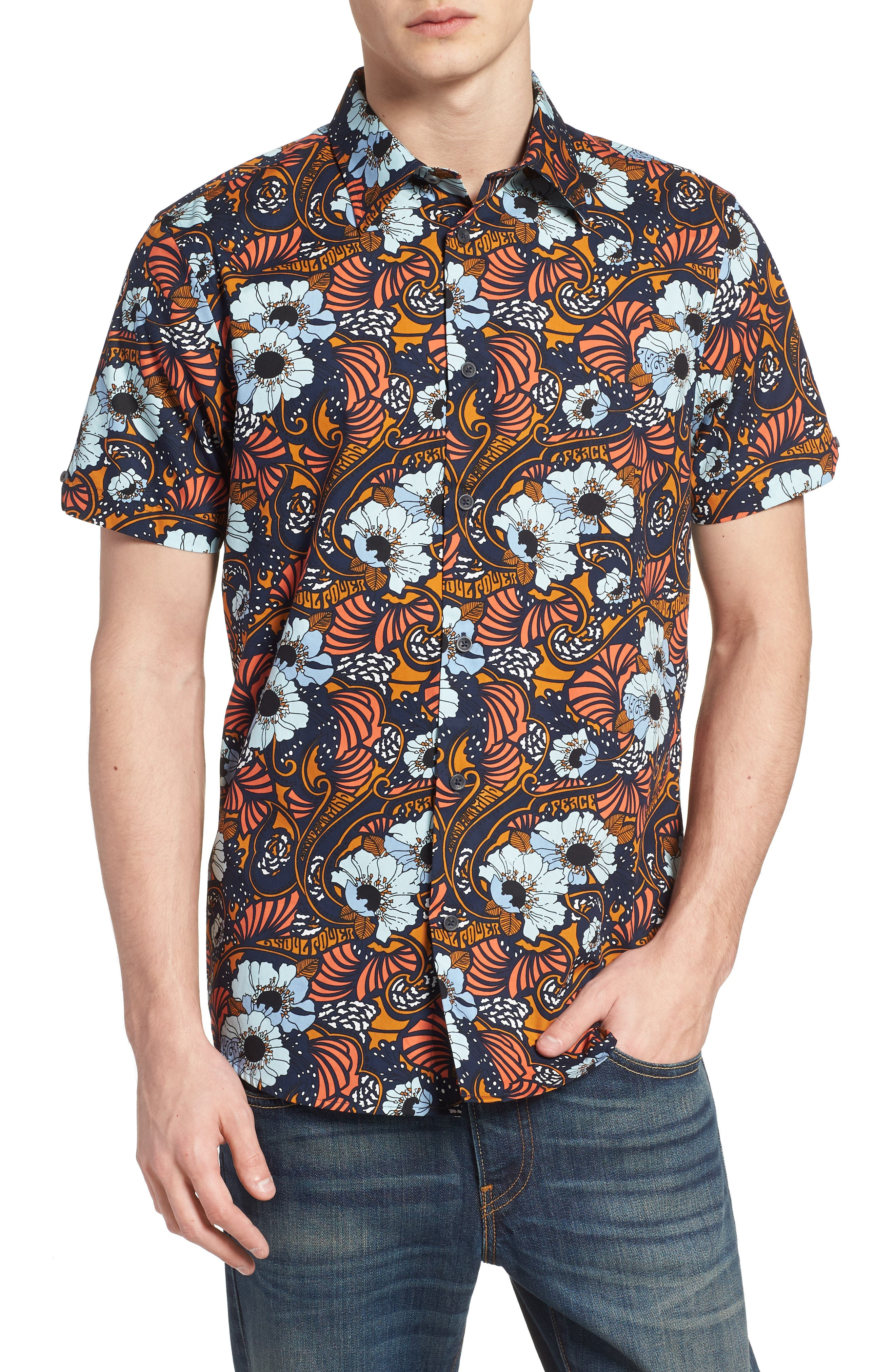 Psychedelic Floral Modern Fit Short Sleeve Sport Shirt,                             Main thumbnail 1, color,                             402