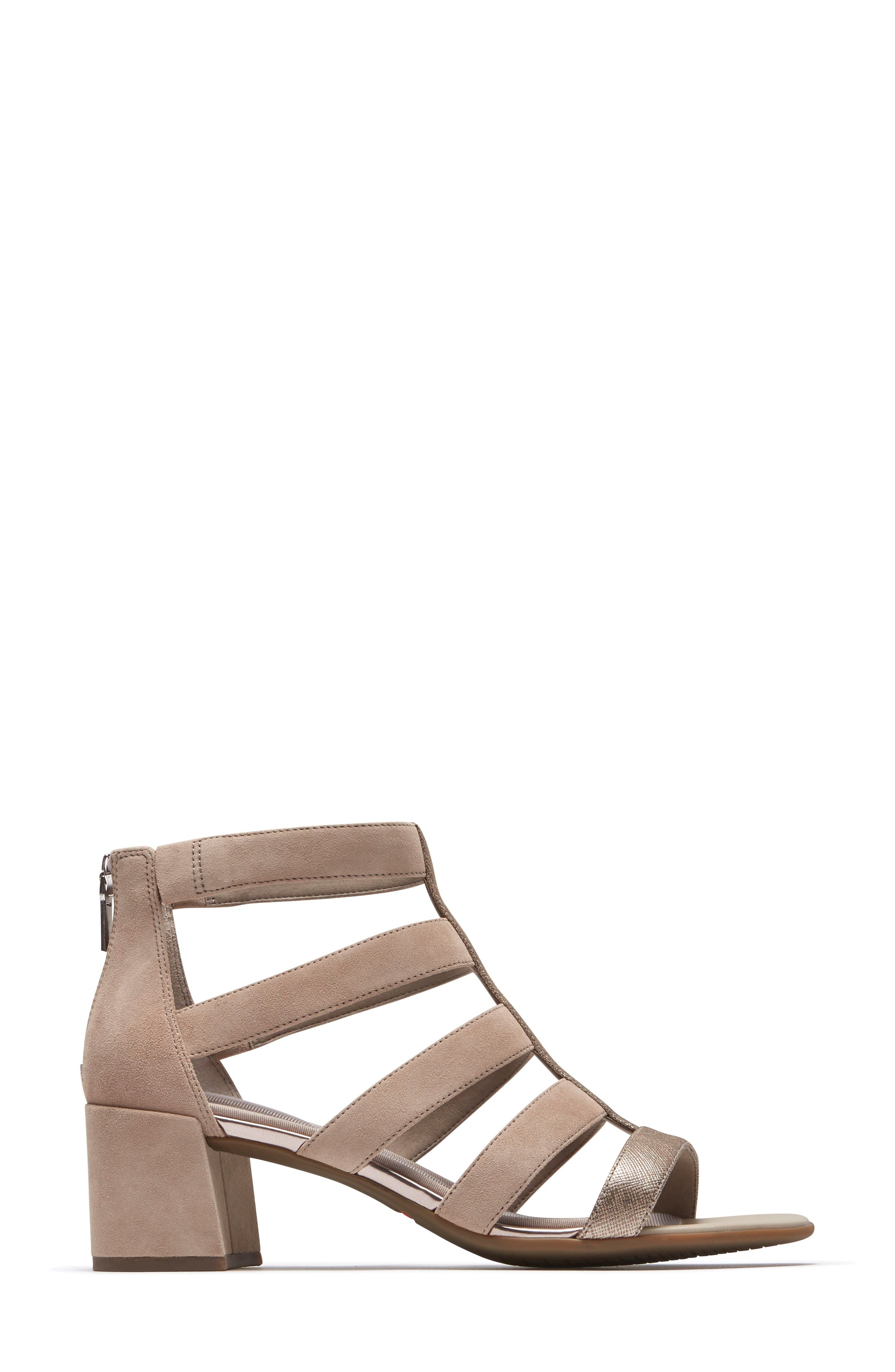 ROCKPORT,                             Total Motion Alaina Luxe Cage Sandal,                             Alternate thumbnail 3, color,                             DOVE SUEDE