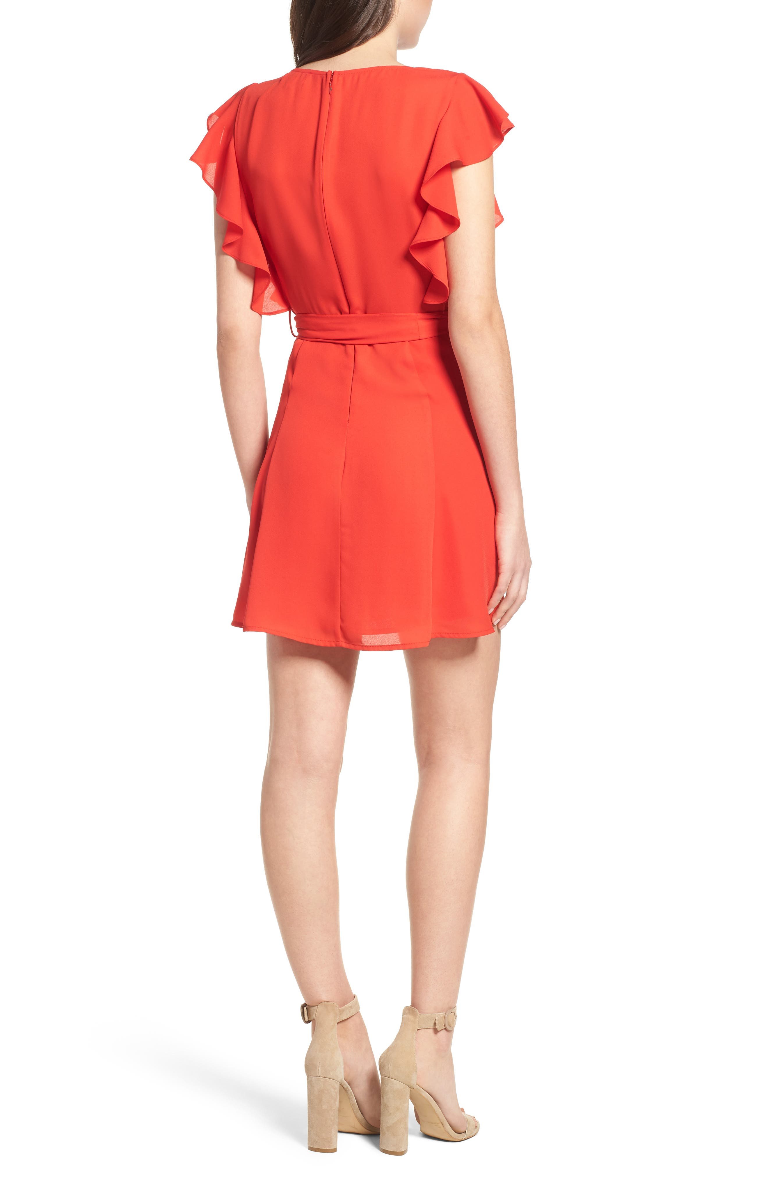 Ruffle Sleeve Dress,                             Alternate thumbnail 4, color,