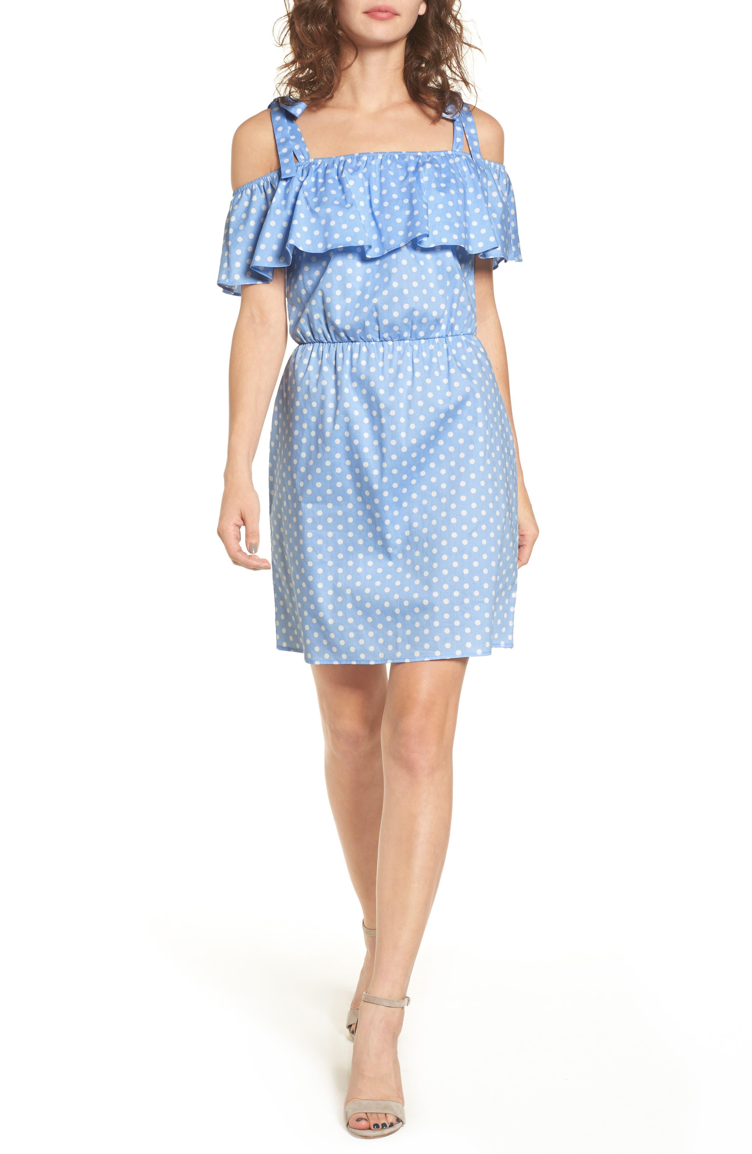 Ruffle Cold Shoulder Dress,                             Main thumbnail 1, color,                             463