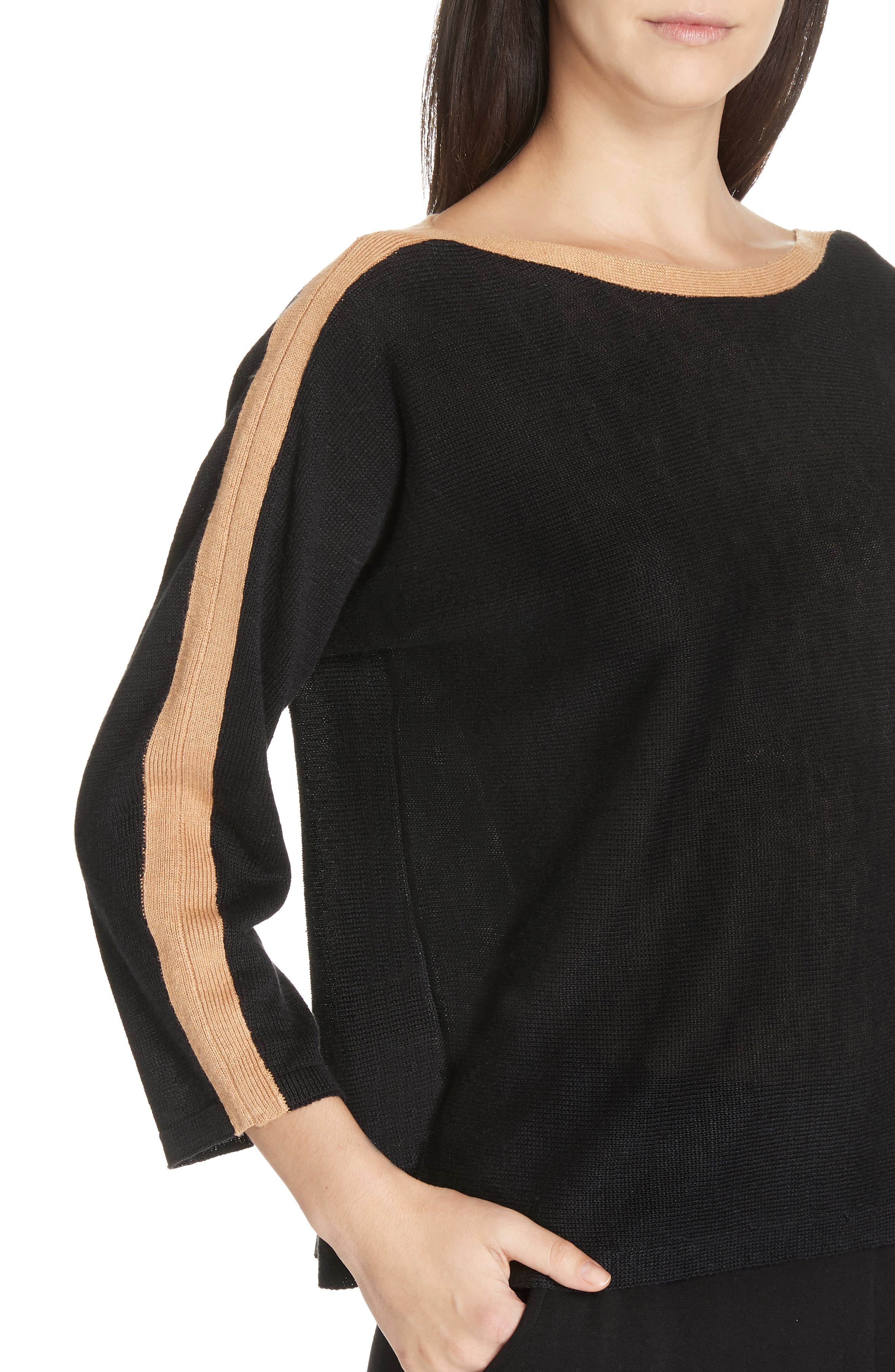 Stripe Detail Linen Sweater,                             Alternate thumbnail 4, color,                             BLACK/ CLAY