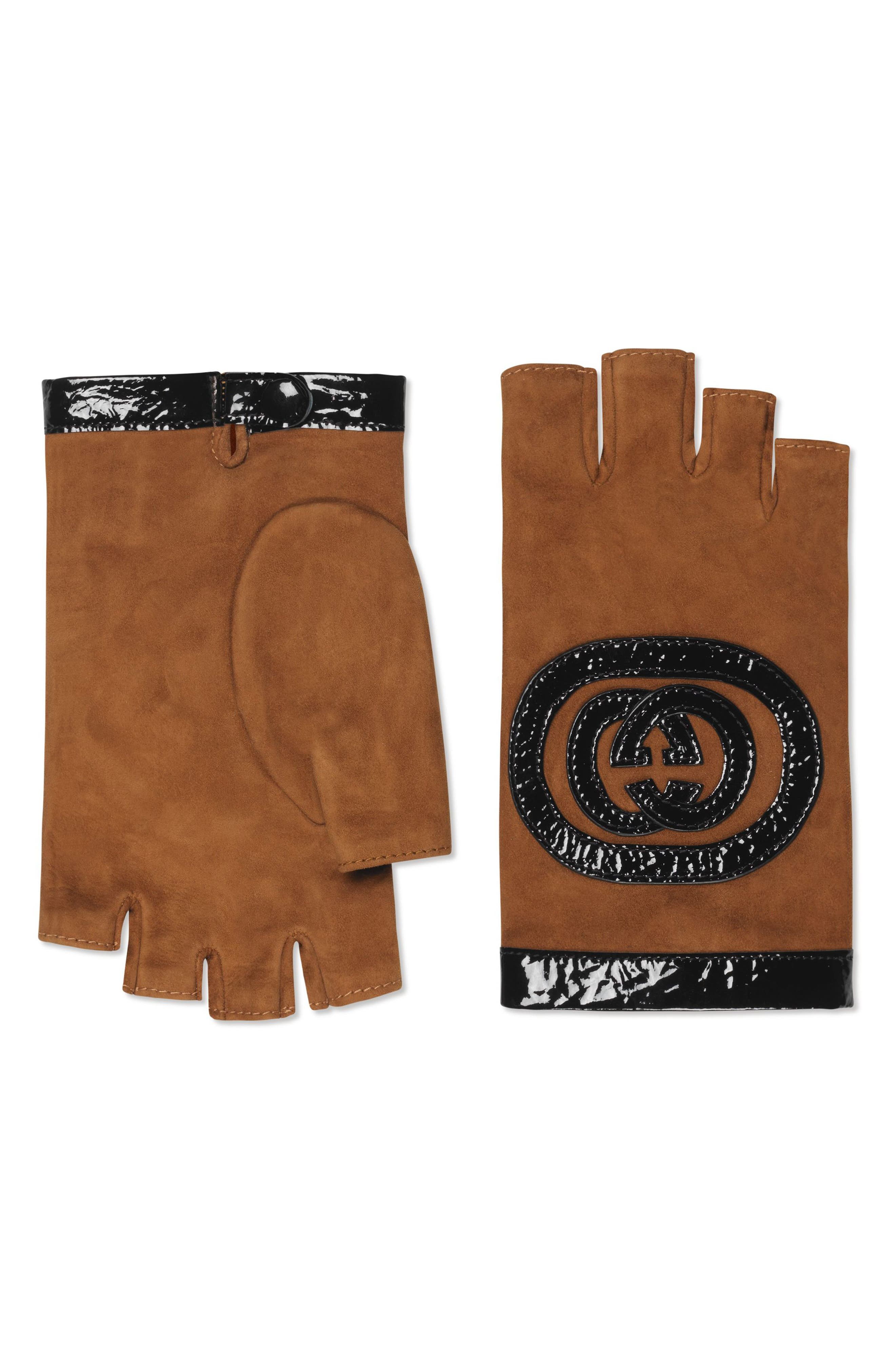 Gucci Logo Suede Fingerless Gloves, Black