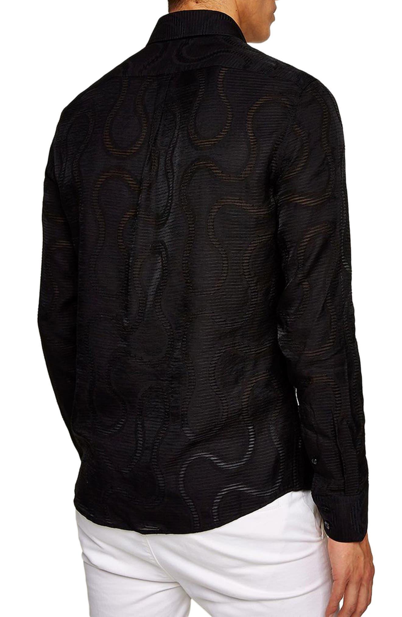 Slim Fit Sheer Swirl Shirt,                             Alternate thumbnail 2, color,                             BLACK