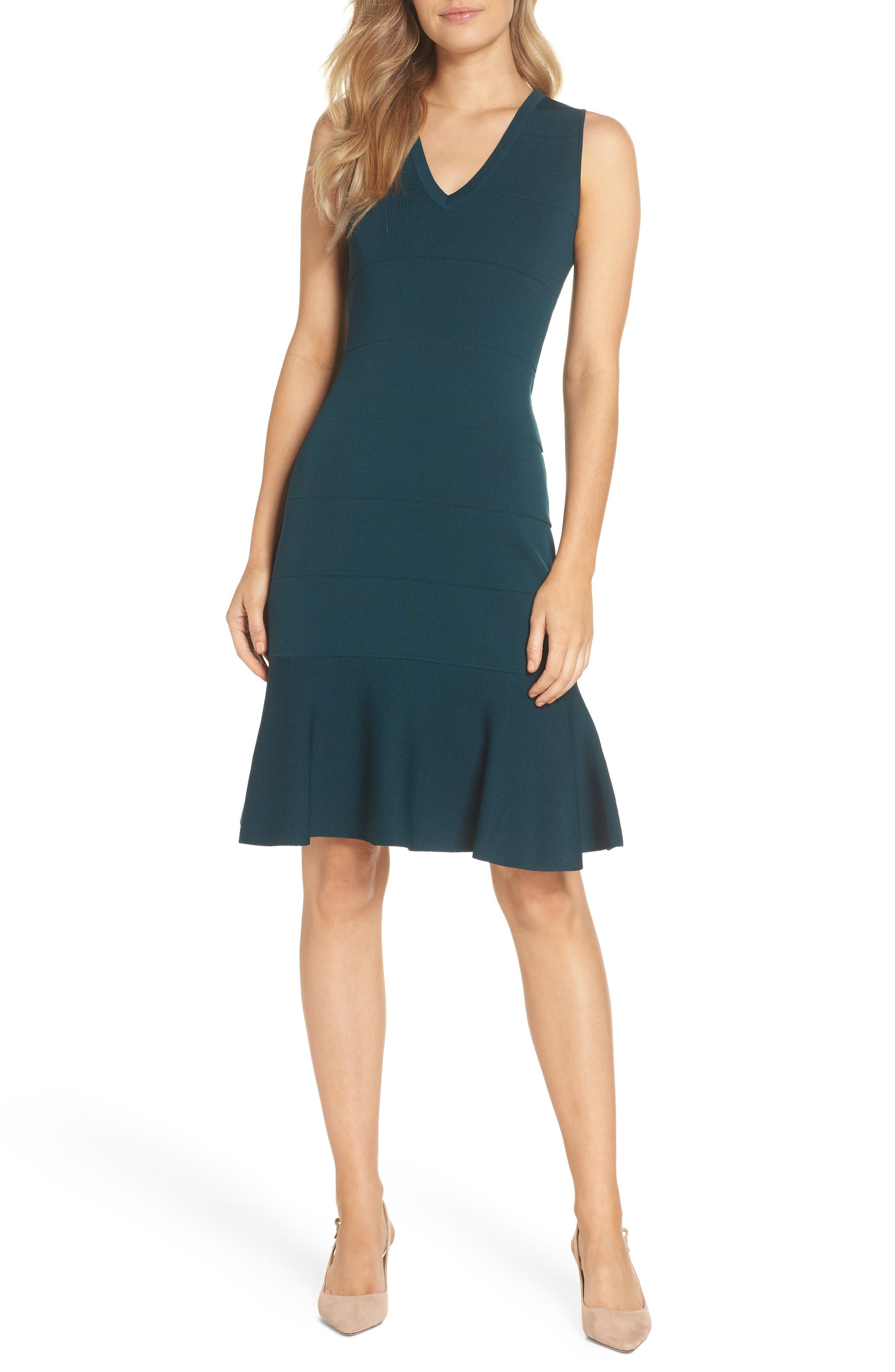 Flounce Hem Sweater Dress,                             Main thumbnail 1, color,                             GREEN