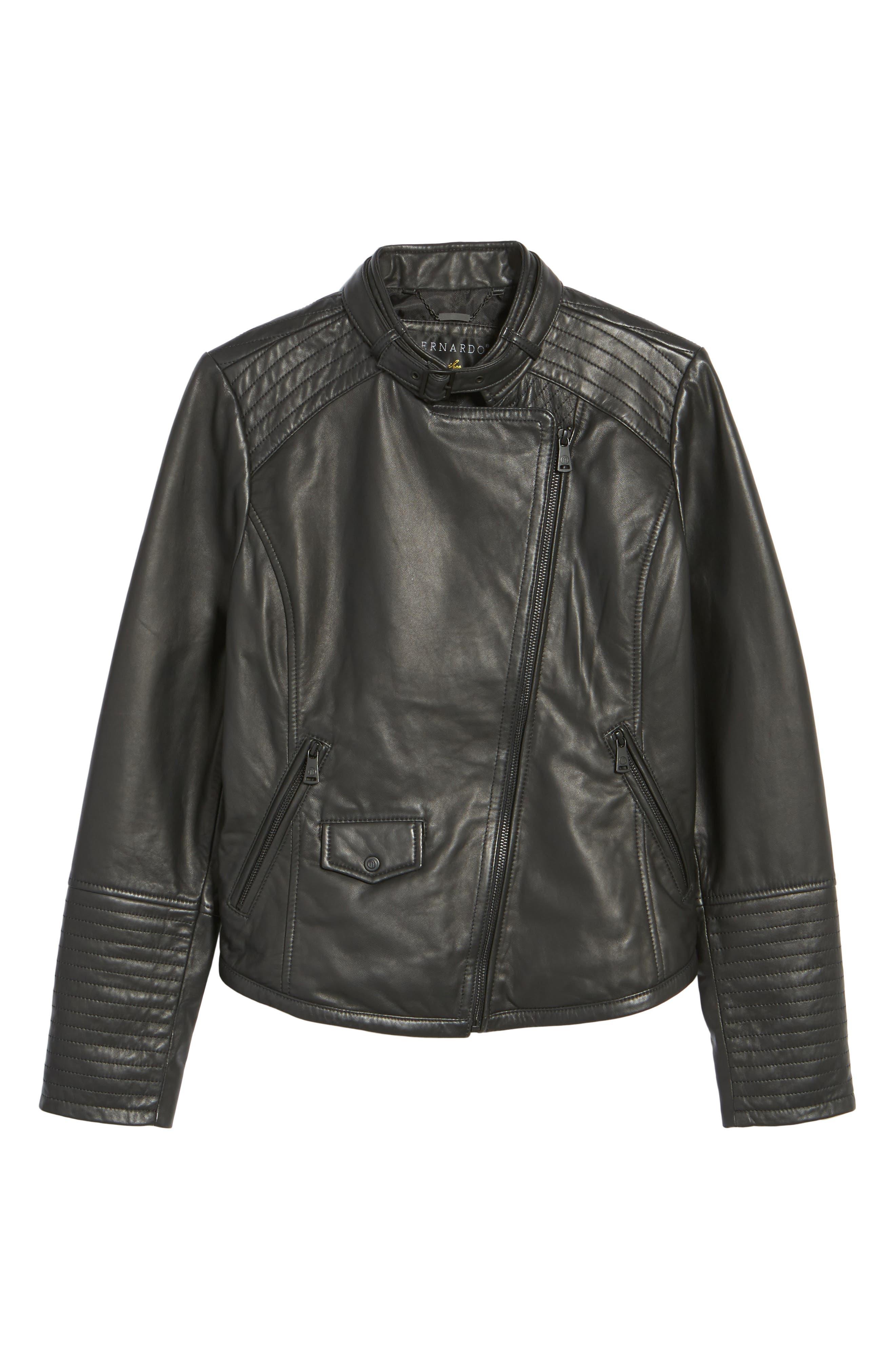 Jetta Asymmetrical Zip Leather Jacket,                             Alternate thumbnail 5, color,                             001